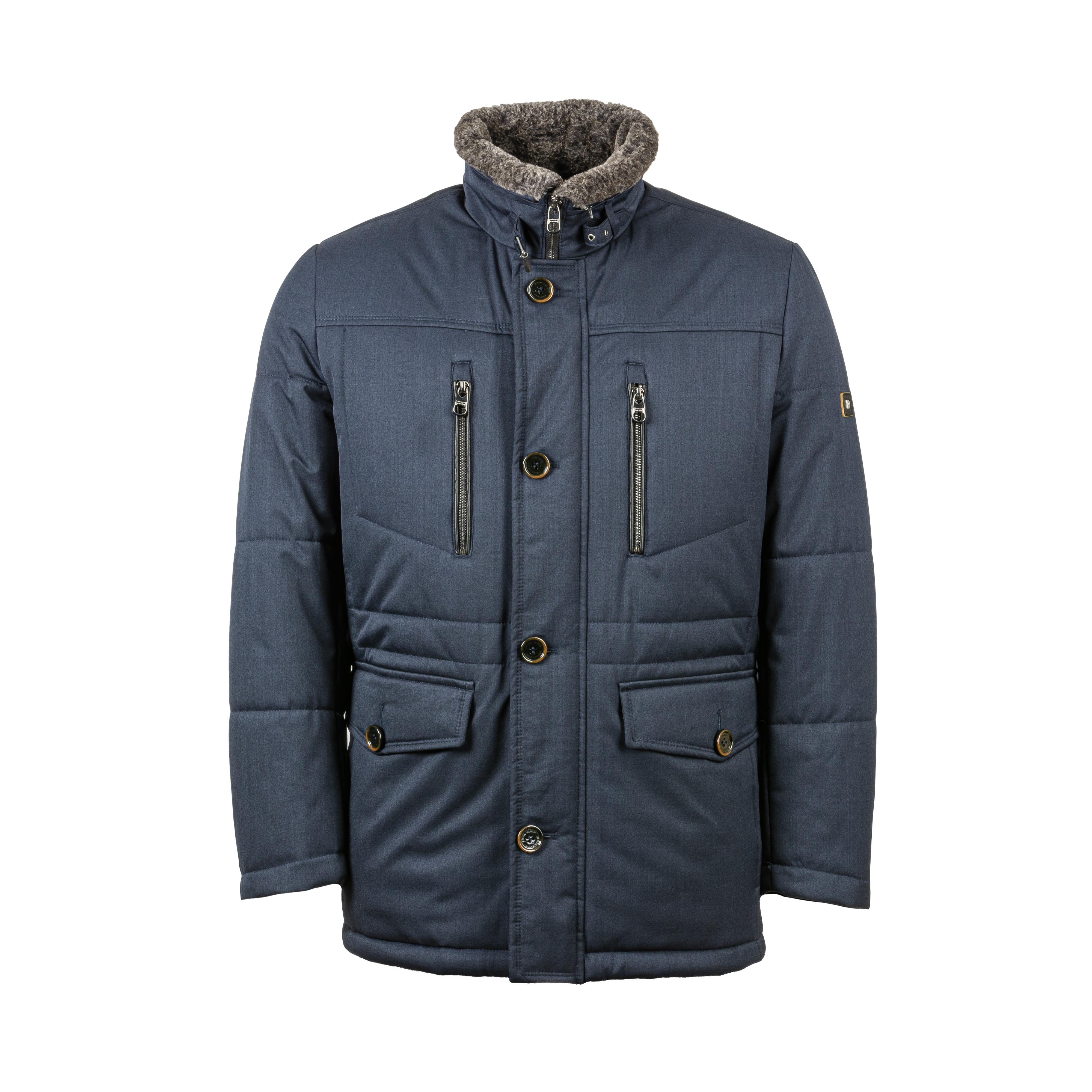 Manteau  bleu marine à col montant doublé
