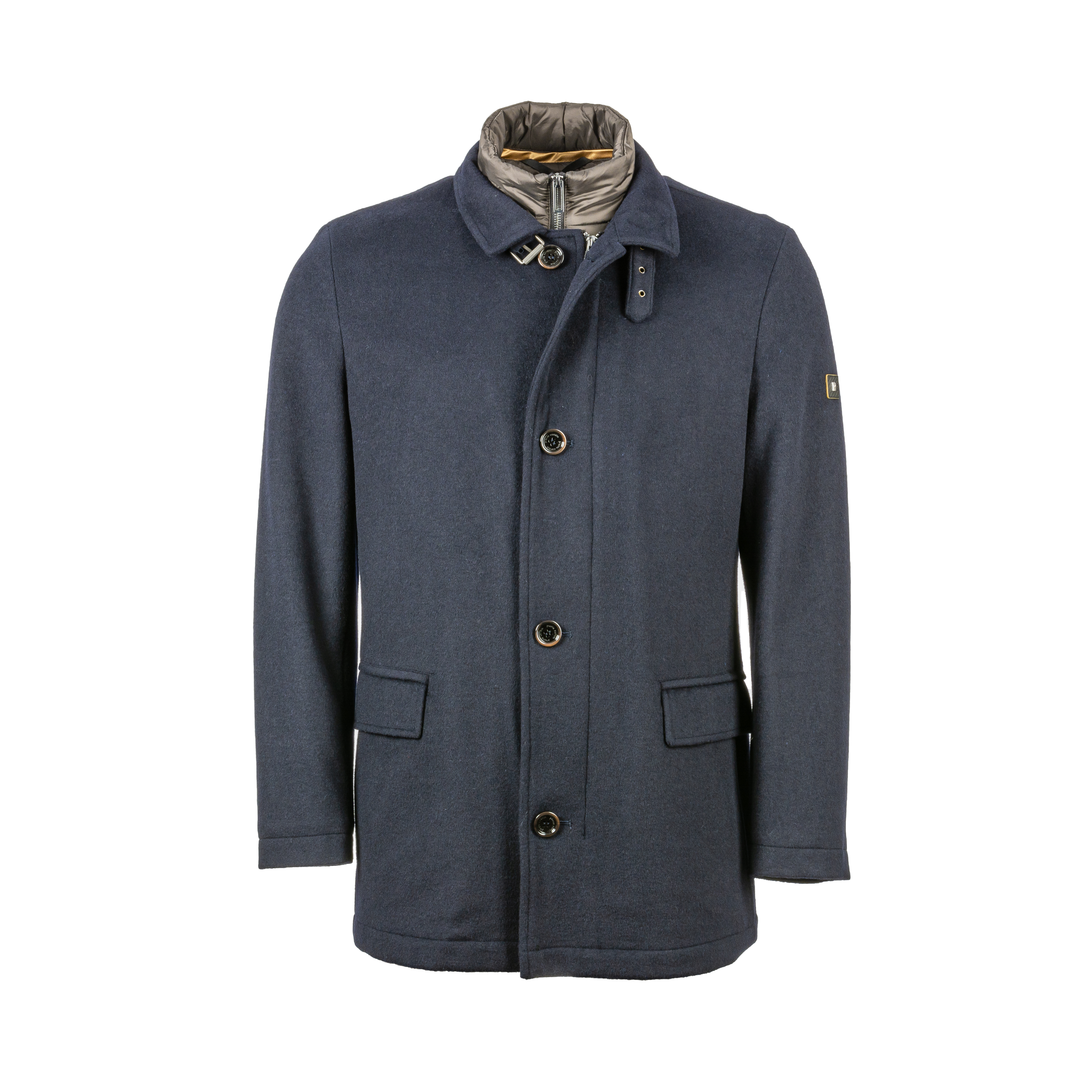 Manteau  en laine mélangée bleu marine