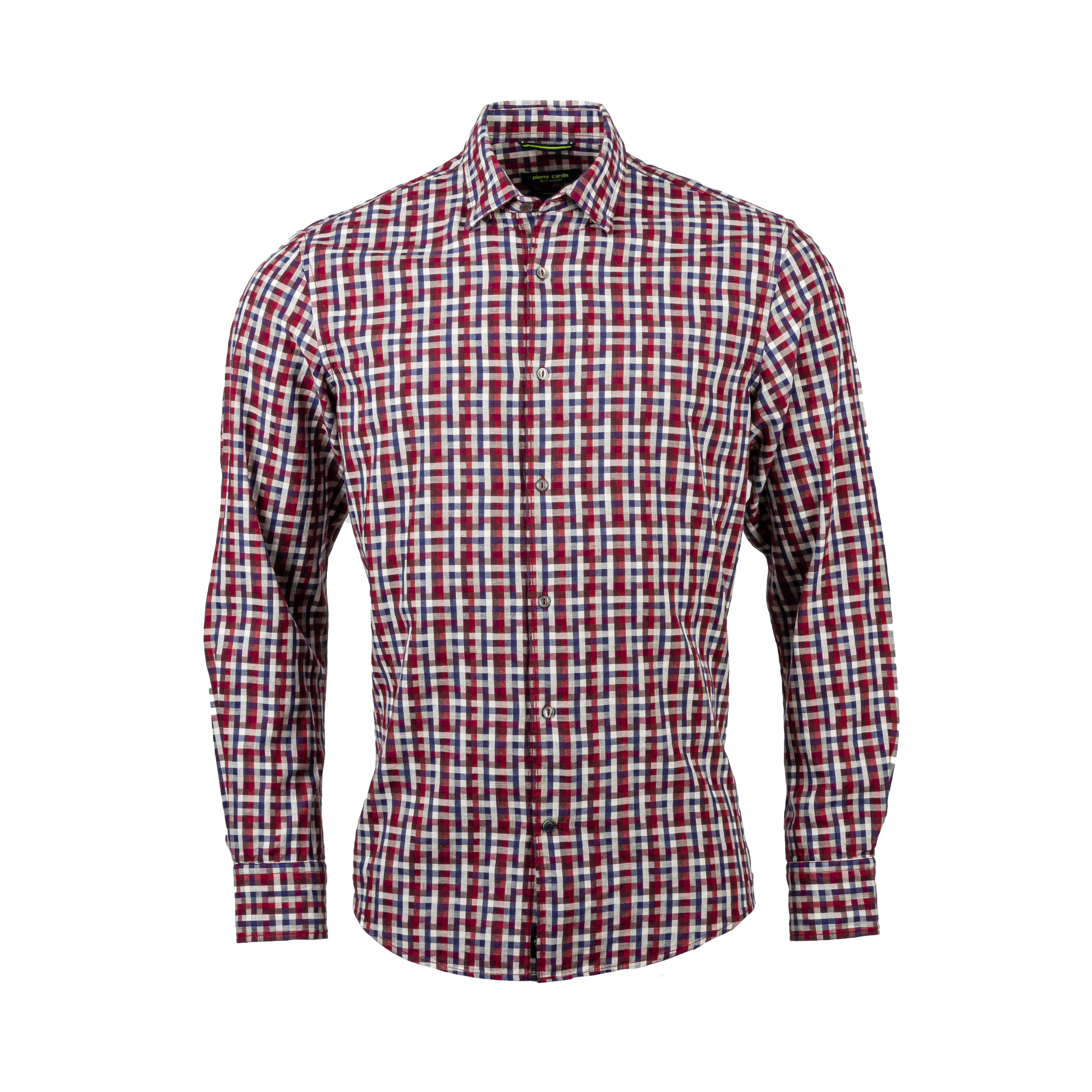 Chemise ajustée  en coton à carreaux rouges, blancs et bleu marine