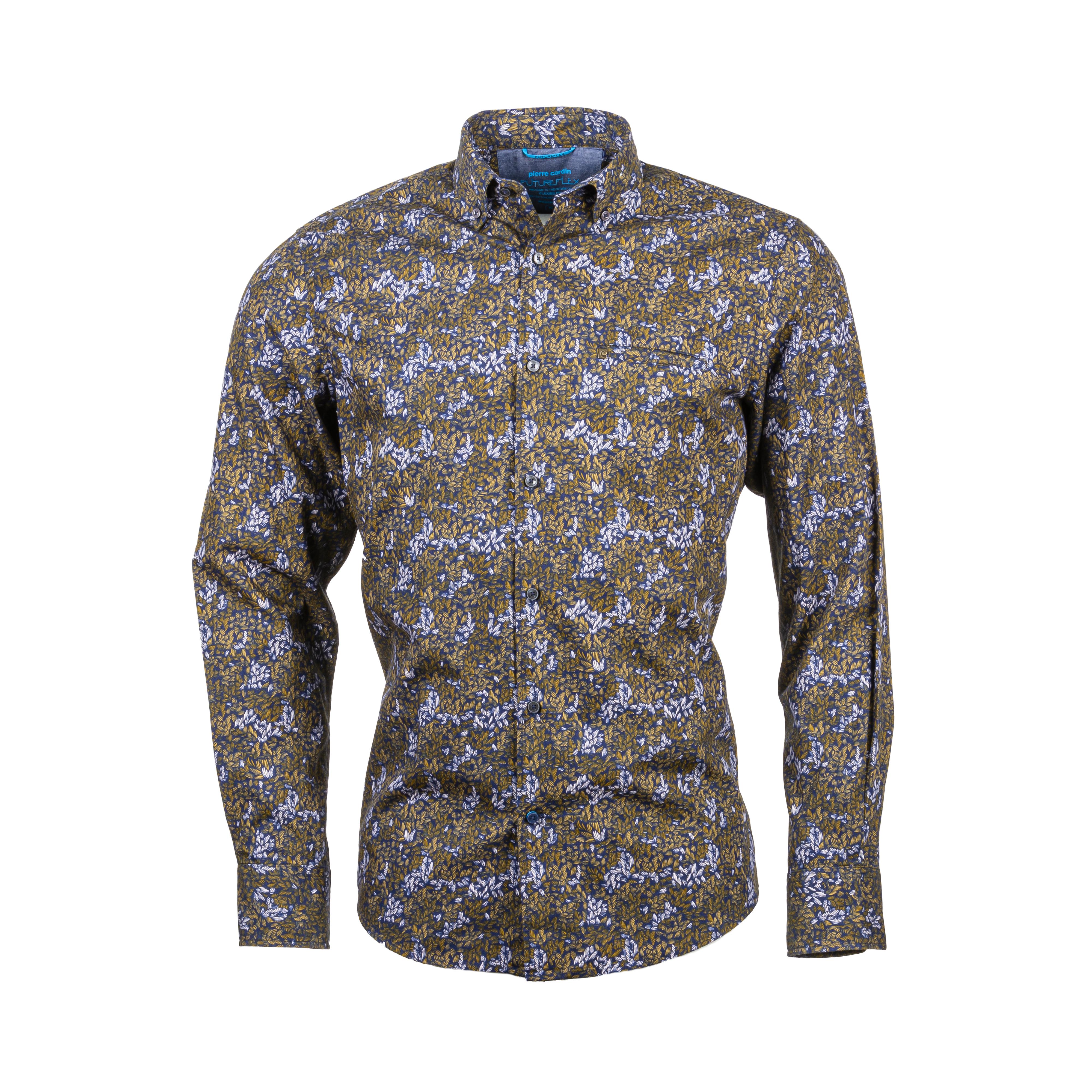 Chemise ajustée  en coton bleu marine à motifs feuilles