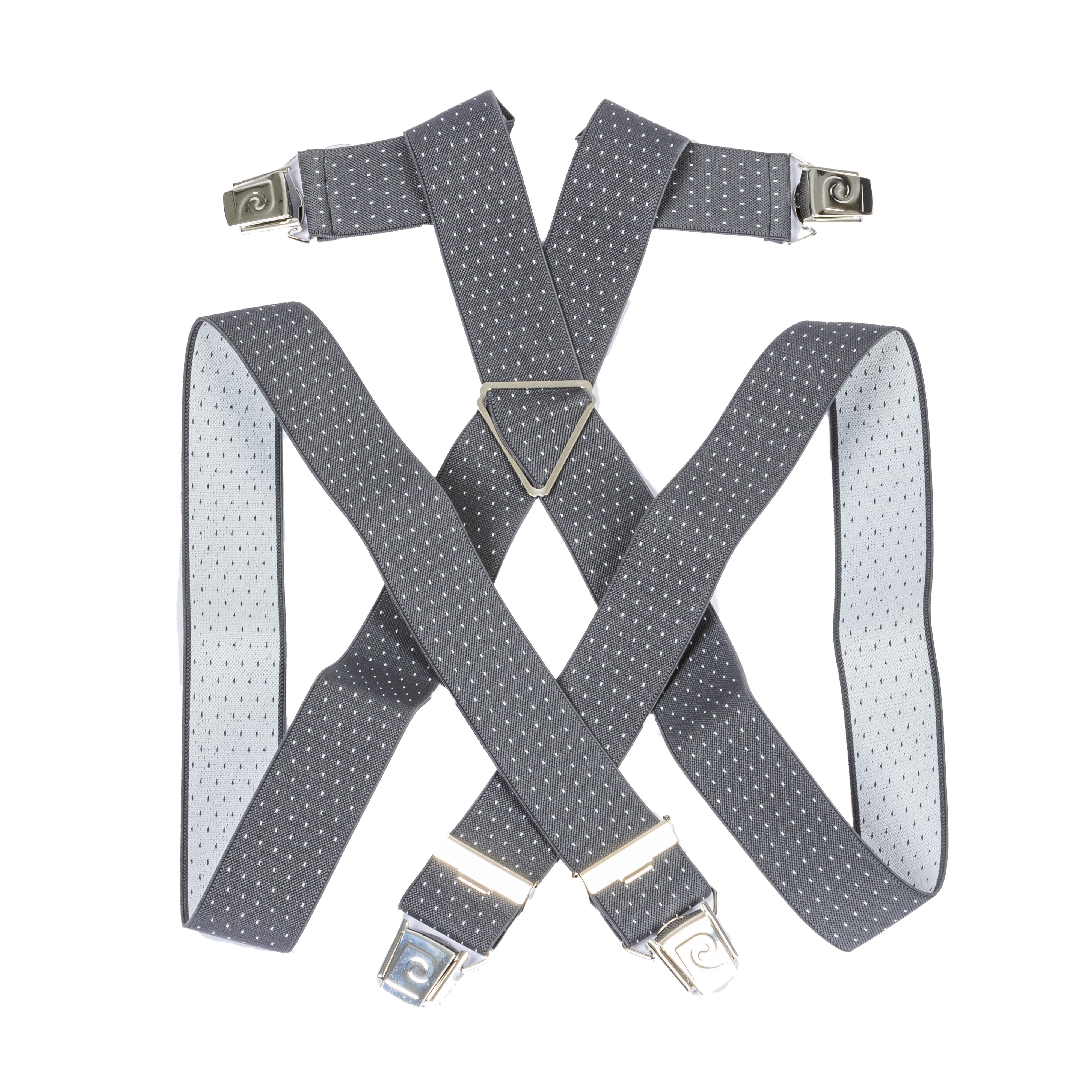 Bretelles pierre cardin gris anthracite à motifs blancs