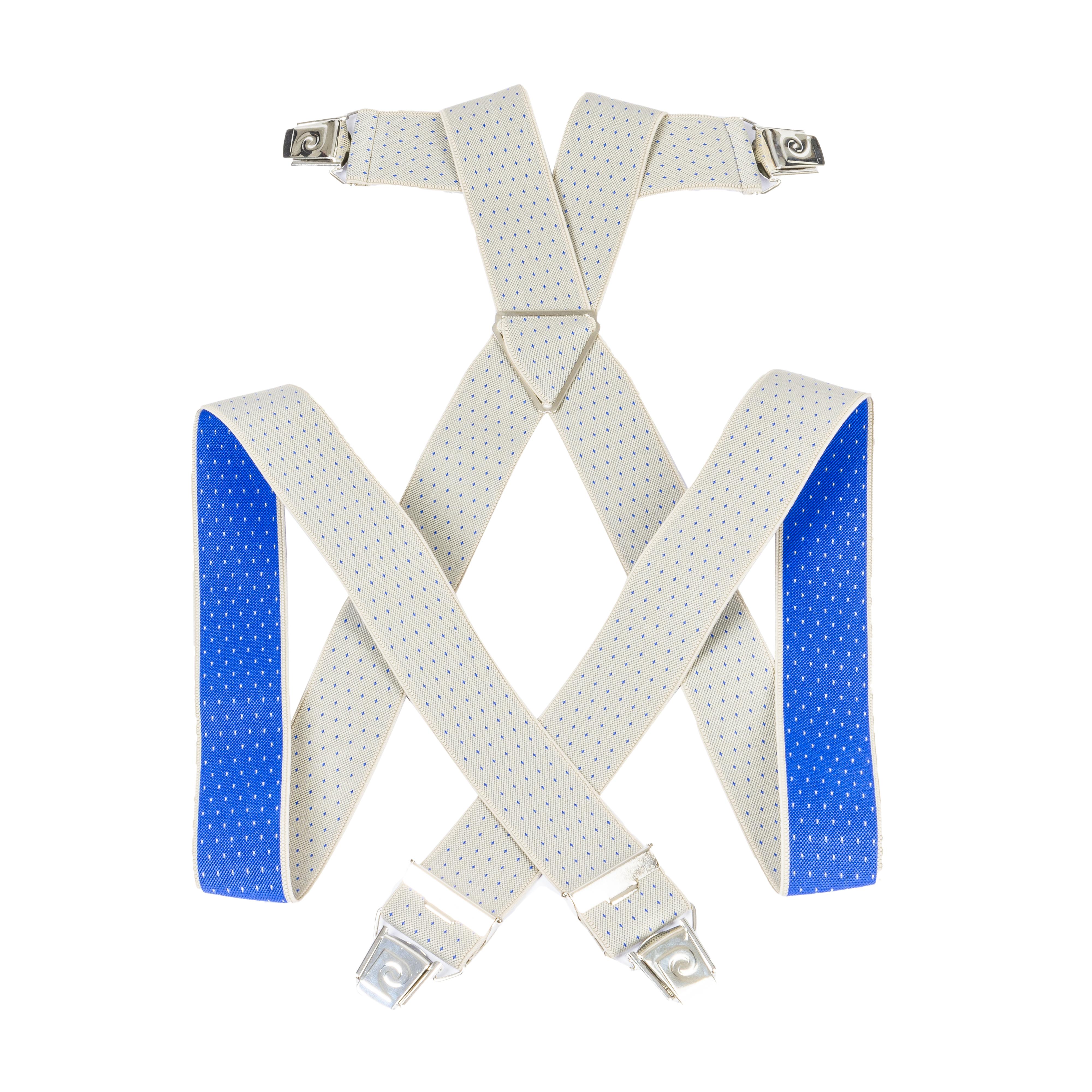 Bretelles pierre cardin gris clair à motifs bleu éléctrique
