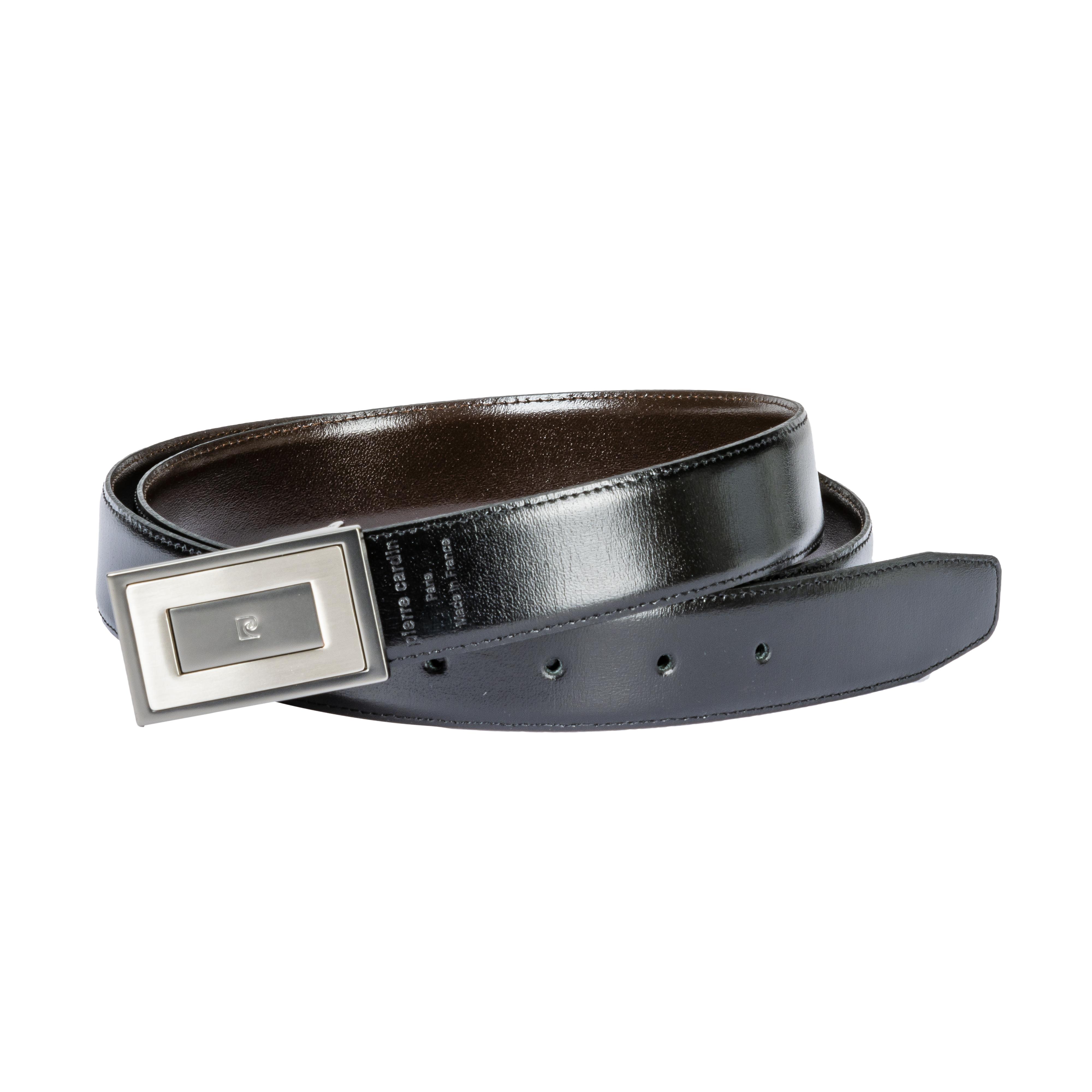 Coffret cadeau pierre cardin : ceinture en cuir noir réversible et ajustable à boucles interchangeables