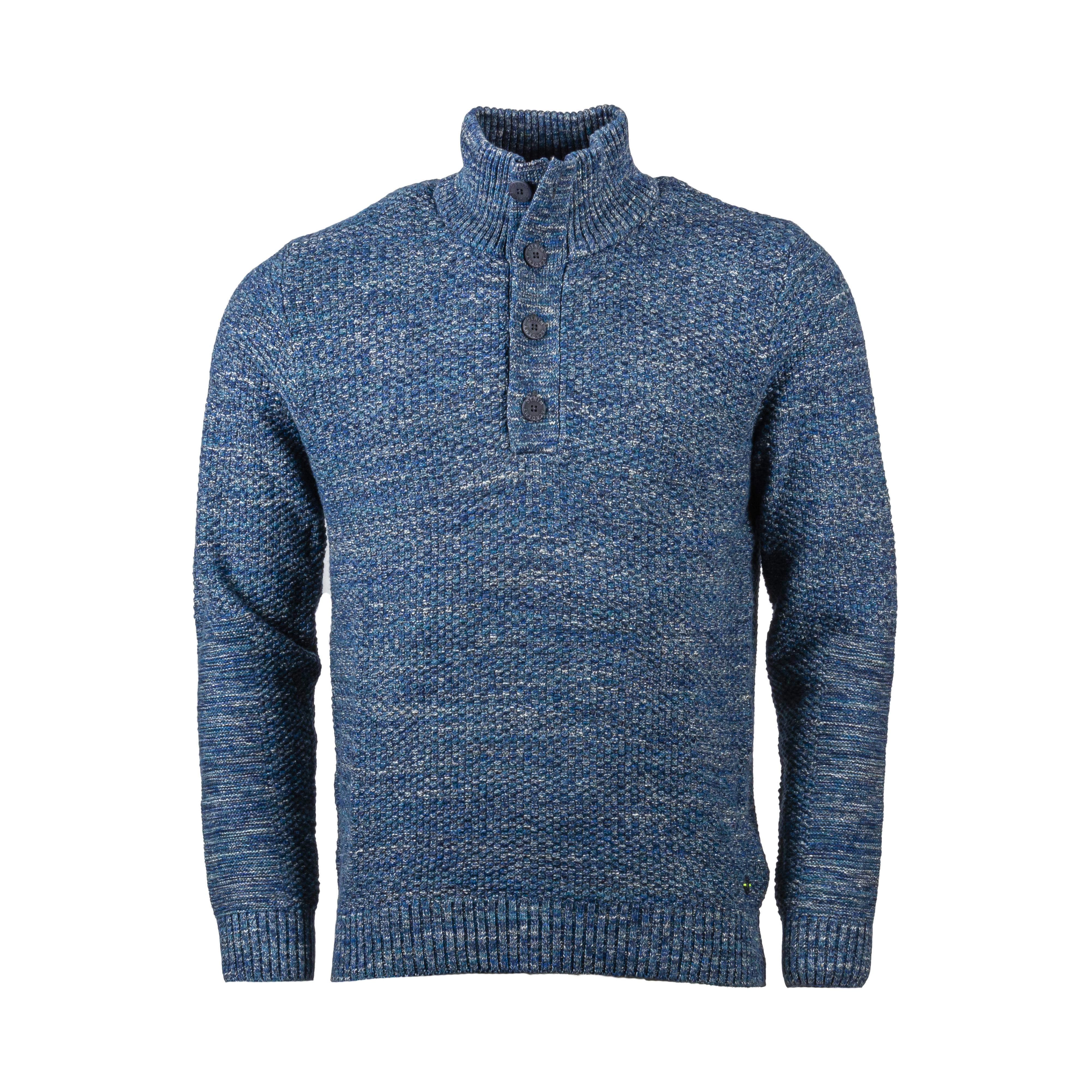 Pull col montant  en coton bleu chiné