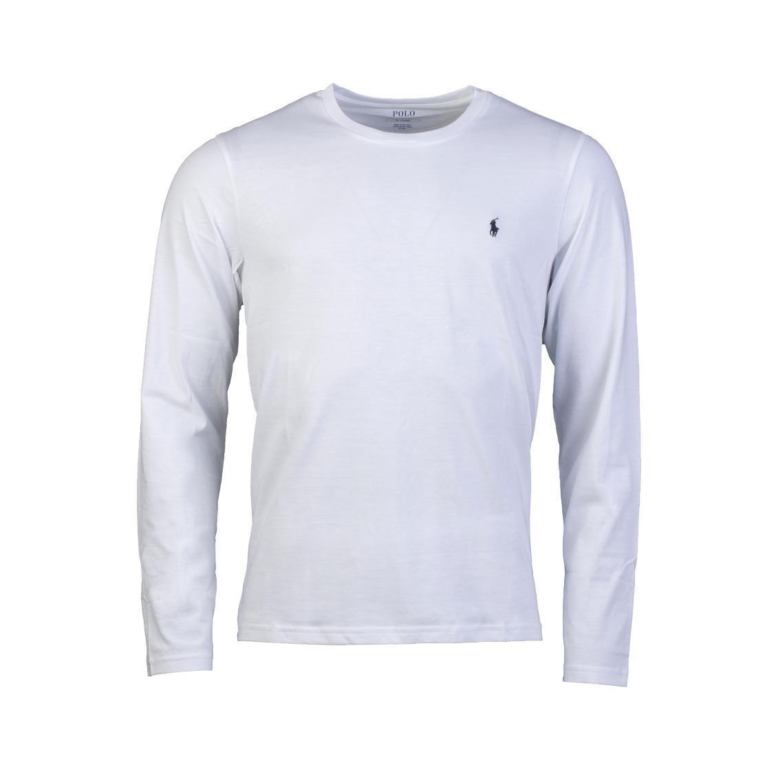 Tee-shirt manches longues col rond  en coton blanc brodé
