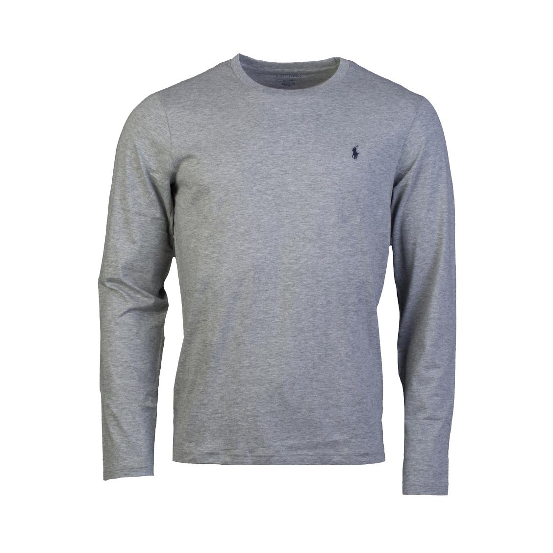 Tee-shirt manches longues col rond  en coton gris chiné brodé