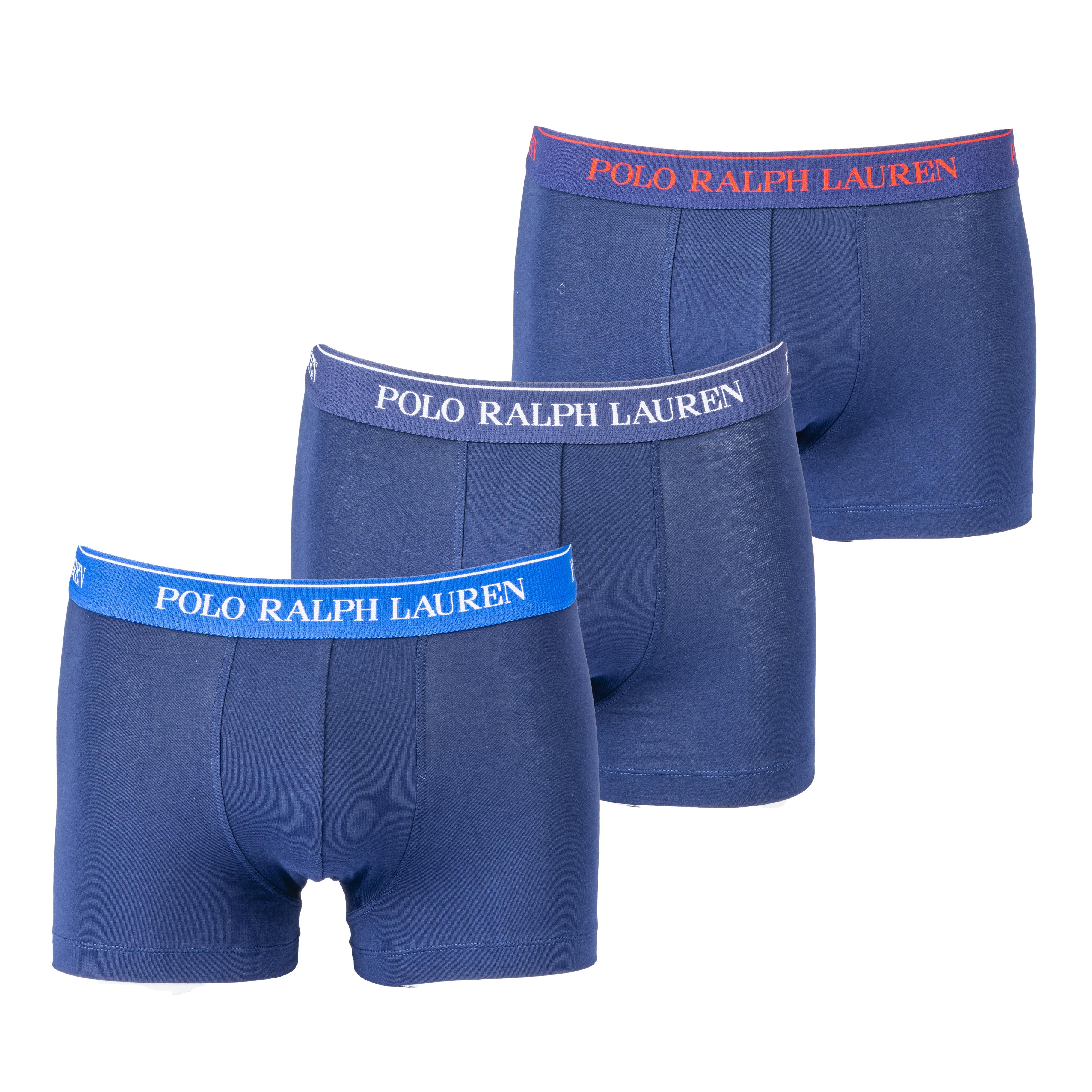 Lot de 3 boxers  en coton stretch noir à ceinture rouge, bleu ciel et bleu pétrole