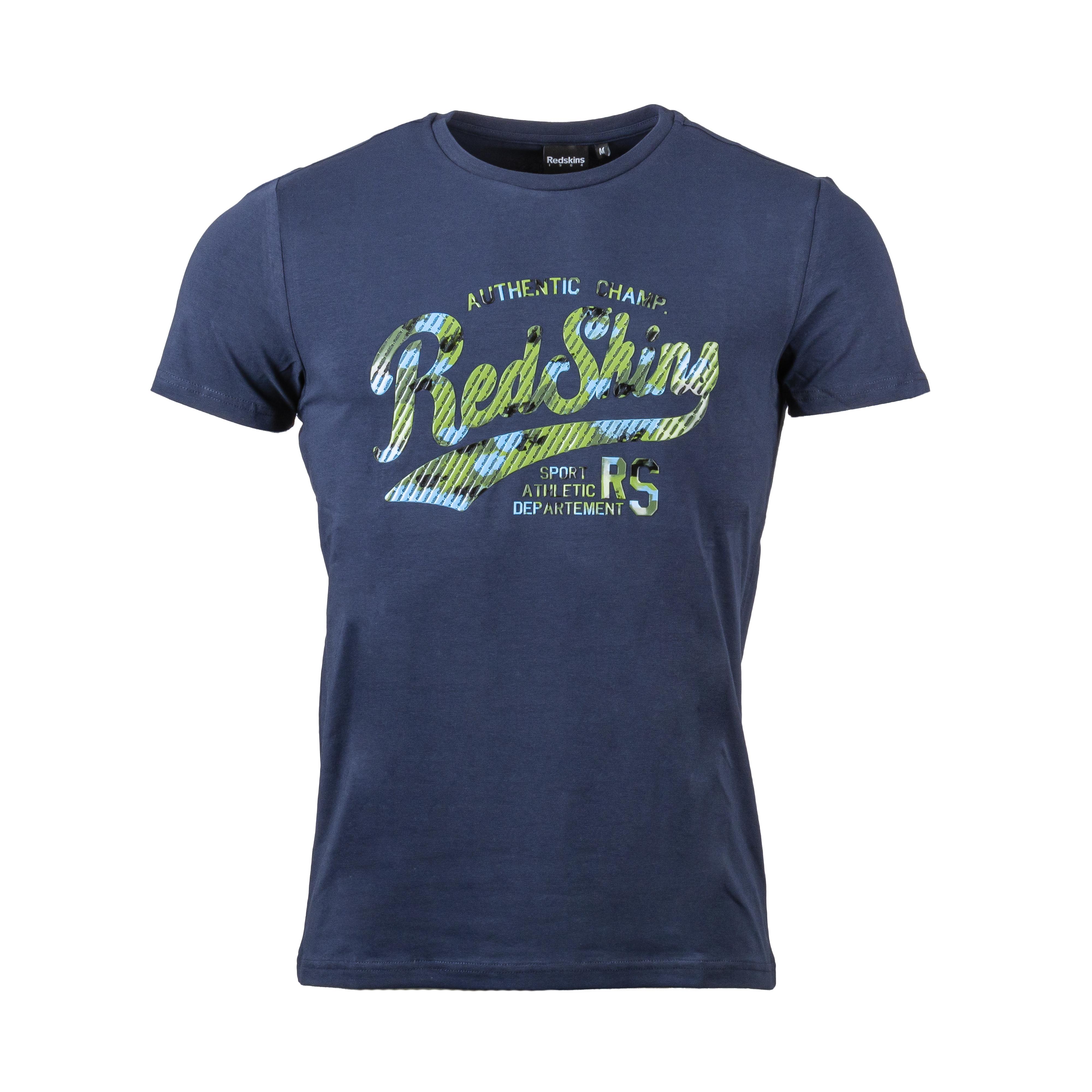 Tee-shirt col rond  holster en coton stretch bleu marine floqué
