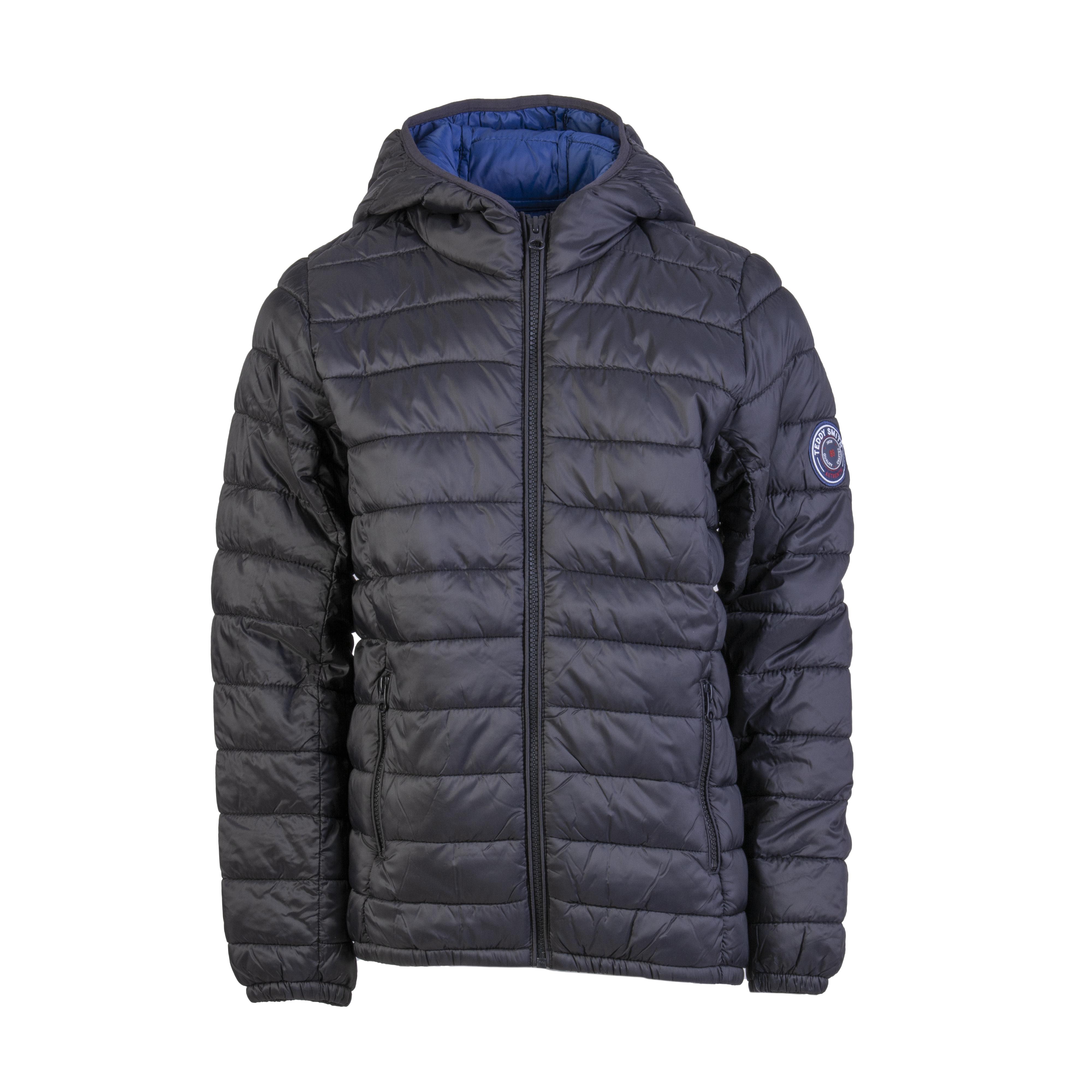 Doudoune légère à capuche teddy smith blighter noire doublée bleu pétrole