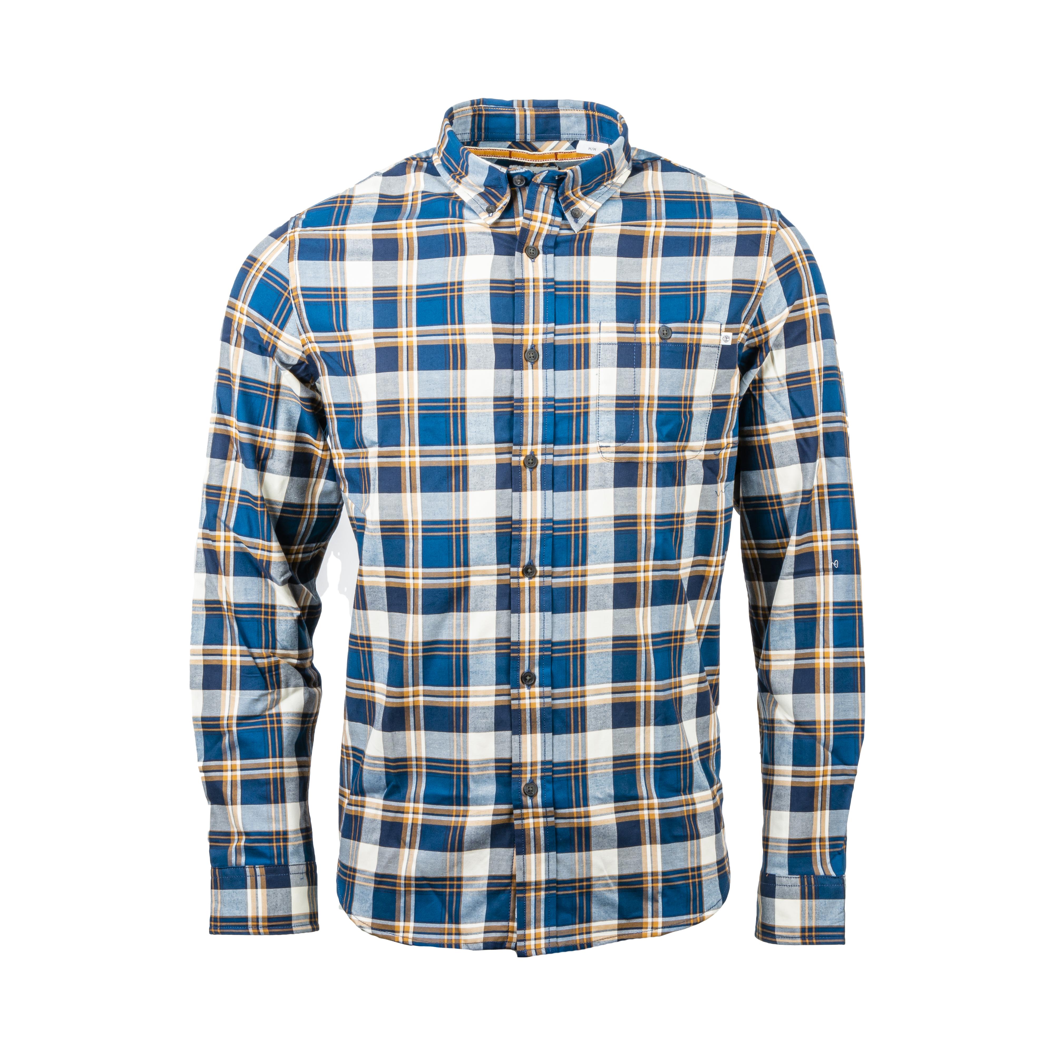 Chemise ajustée  en coton à carreaux bleus, blancs et orange