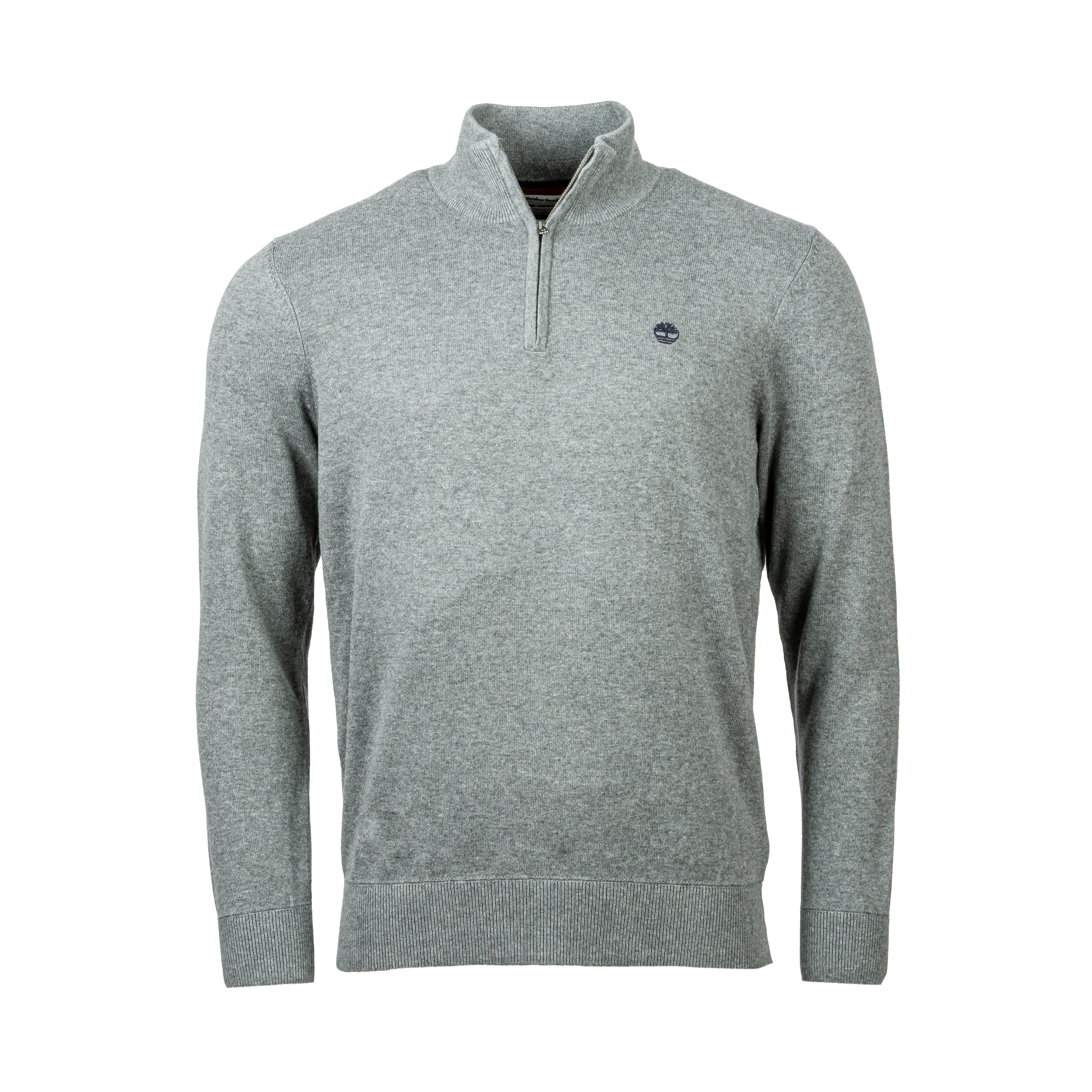 Pull col zippé  en coton gris chiné