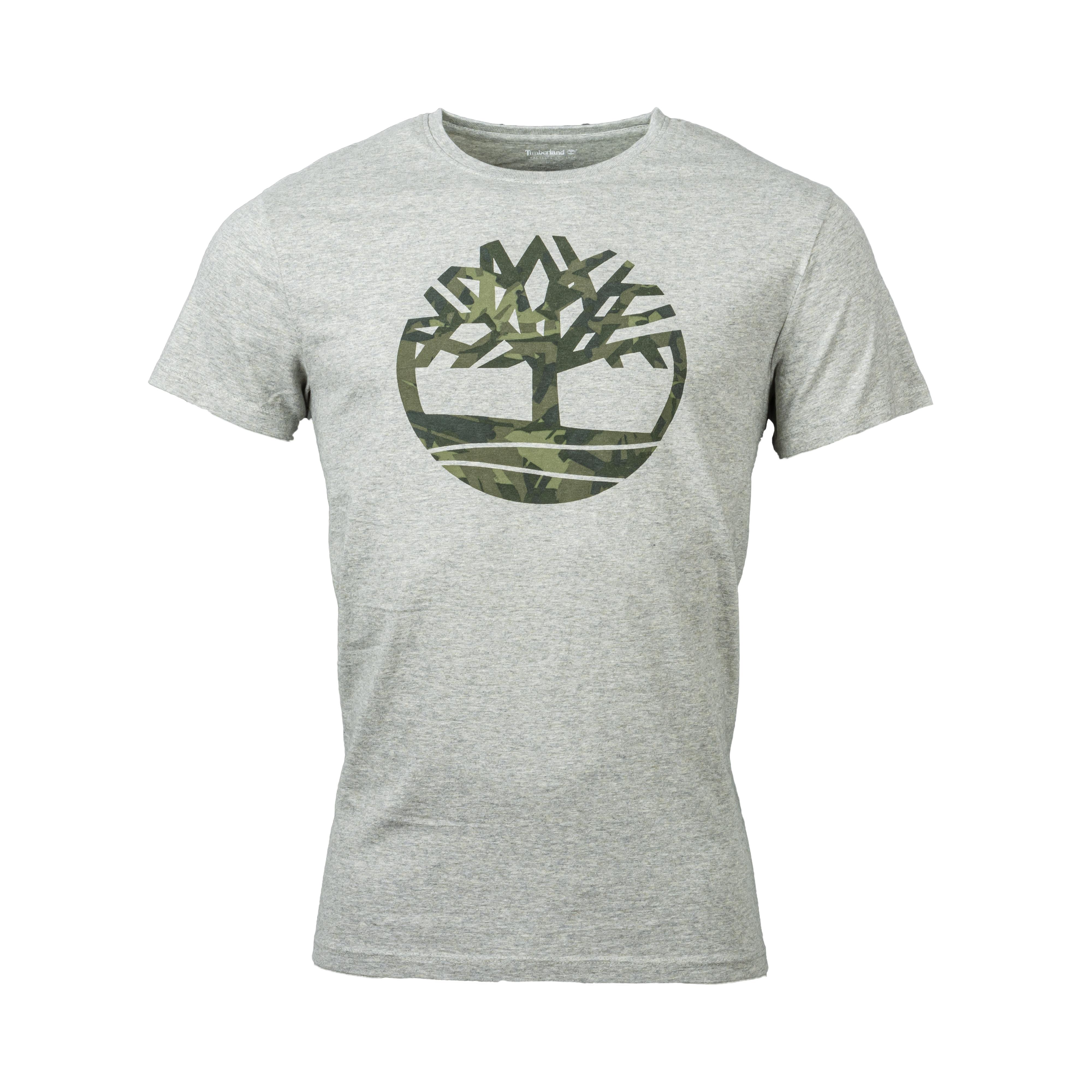 Tee-shirt col rond  en coton gris chiné floqué