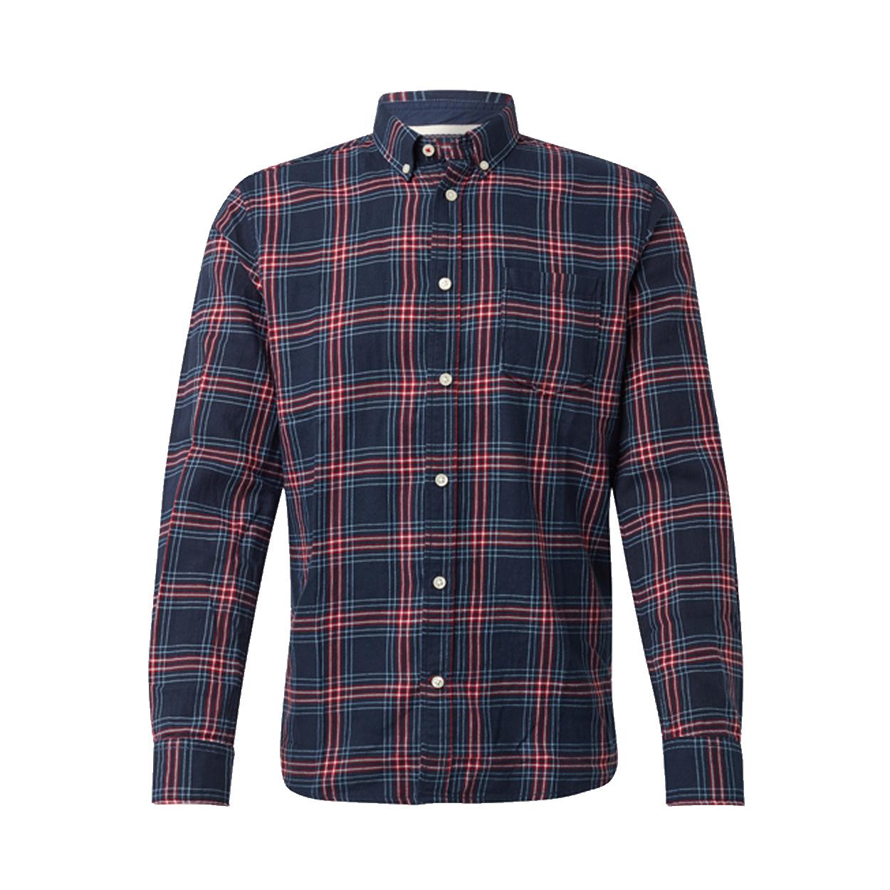 Chemise ajustée  en coton bleu marine à carreaux rouges et blancs