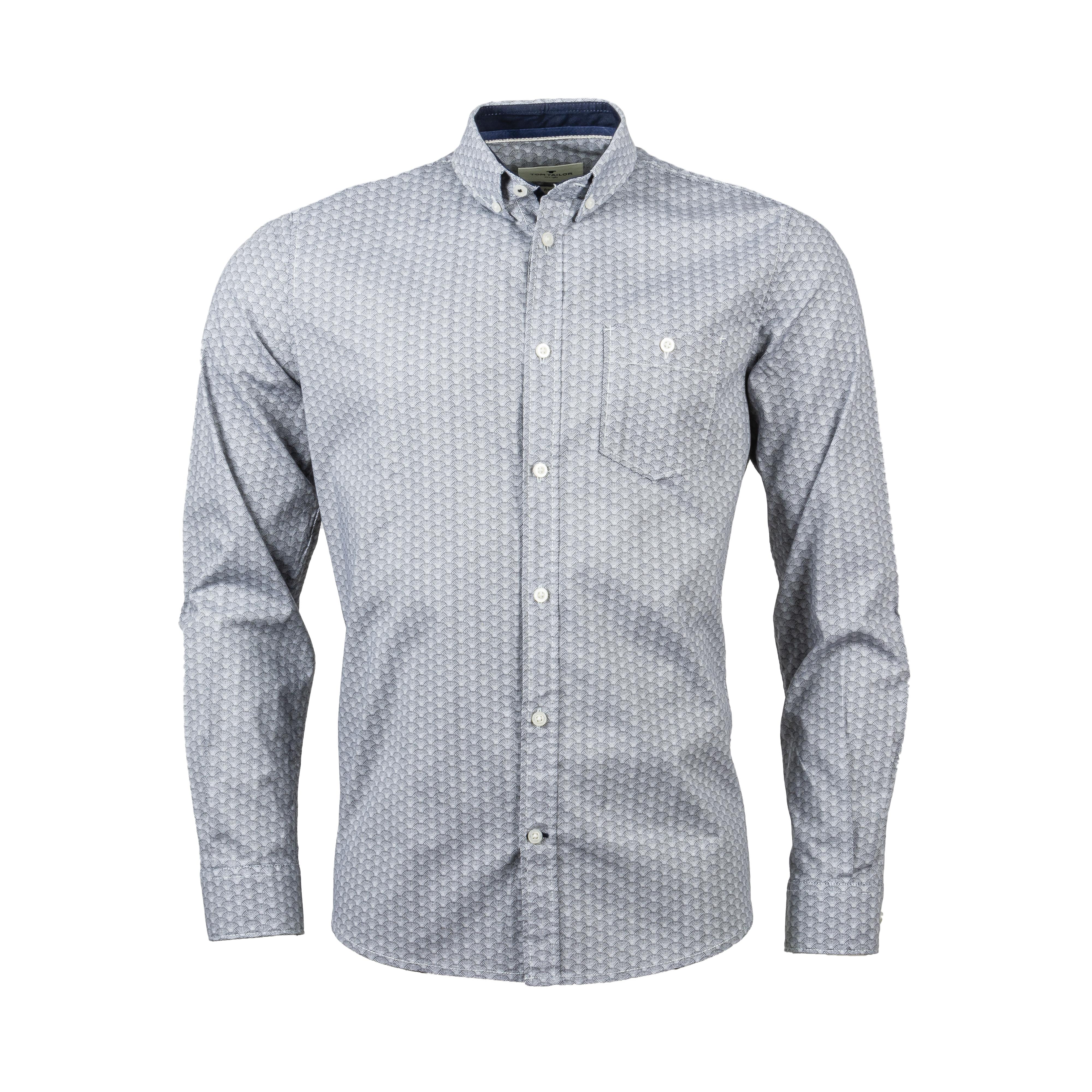 Chemise ajustée Tom Tailor en coton stretch blanc à motifs graphiques noirs