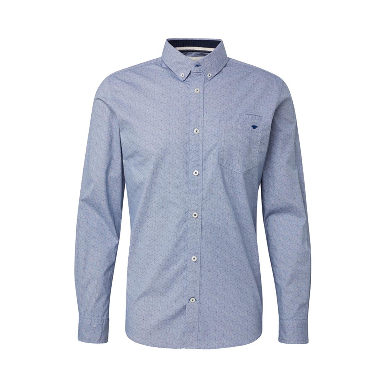 Chemise ajustée  en coton stretch bleu denim à motifs graphiques