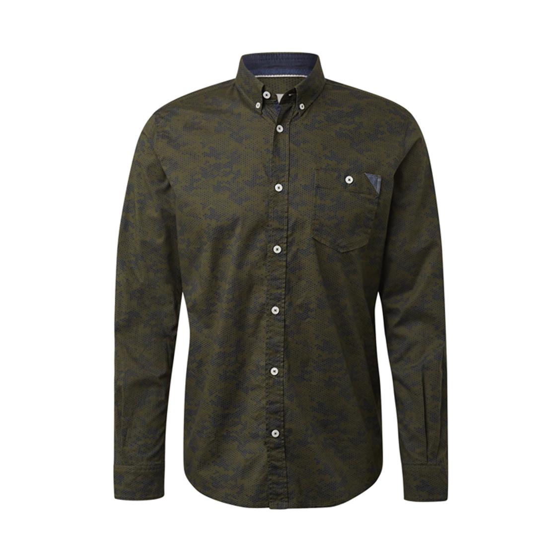 Chemise ajustée  en coton stretch kaki à motifs graphiques