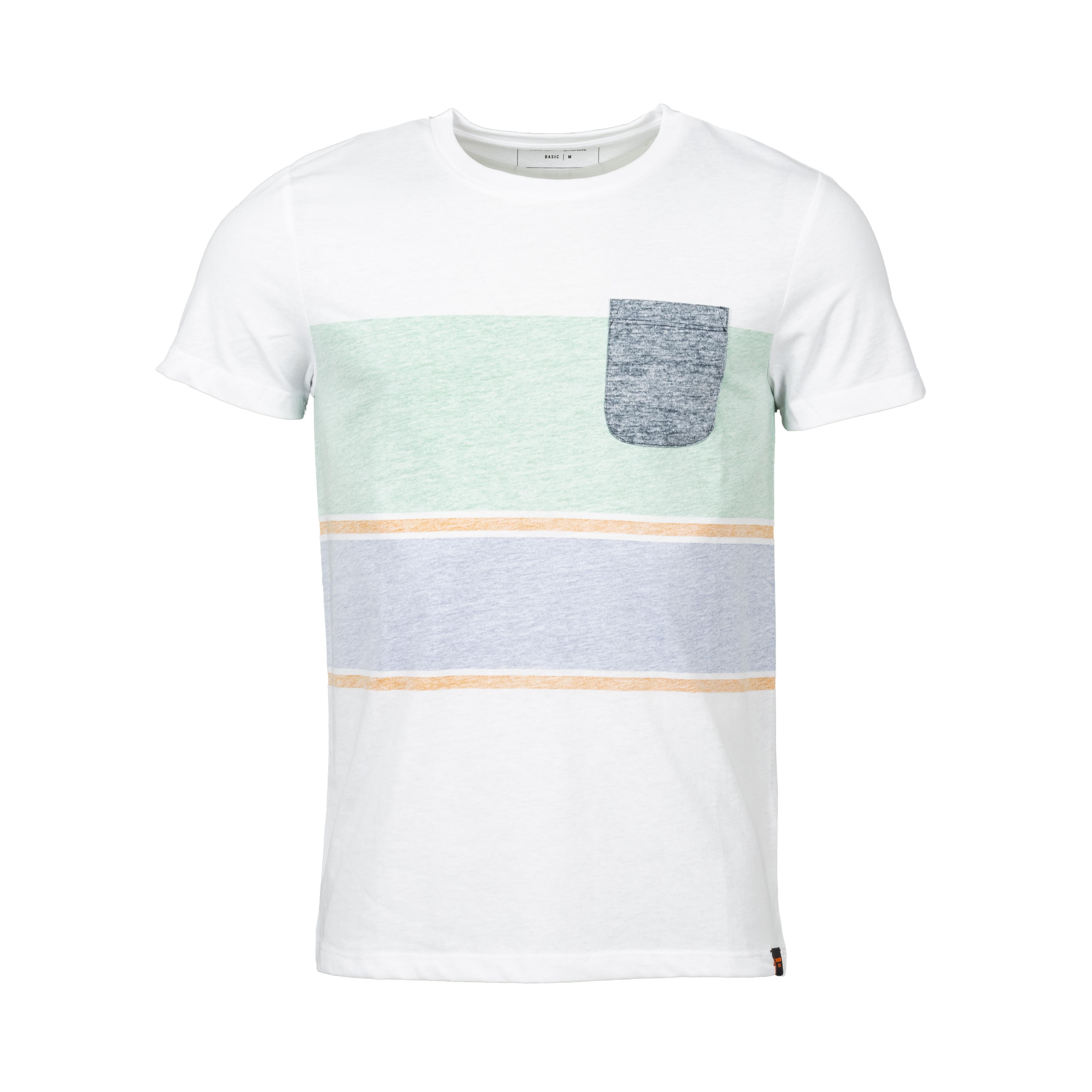 Tee-shirt col rond  en coton blanc à bandes vertes et bleu