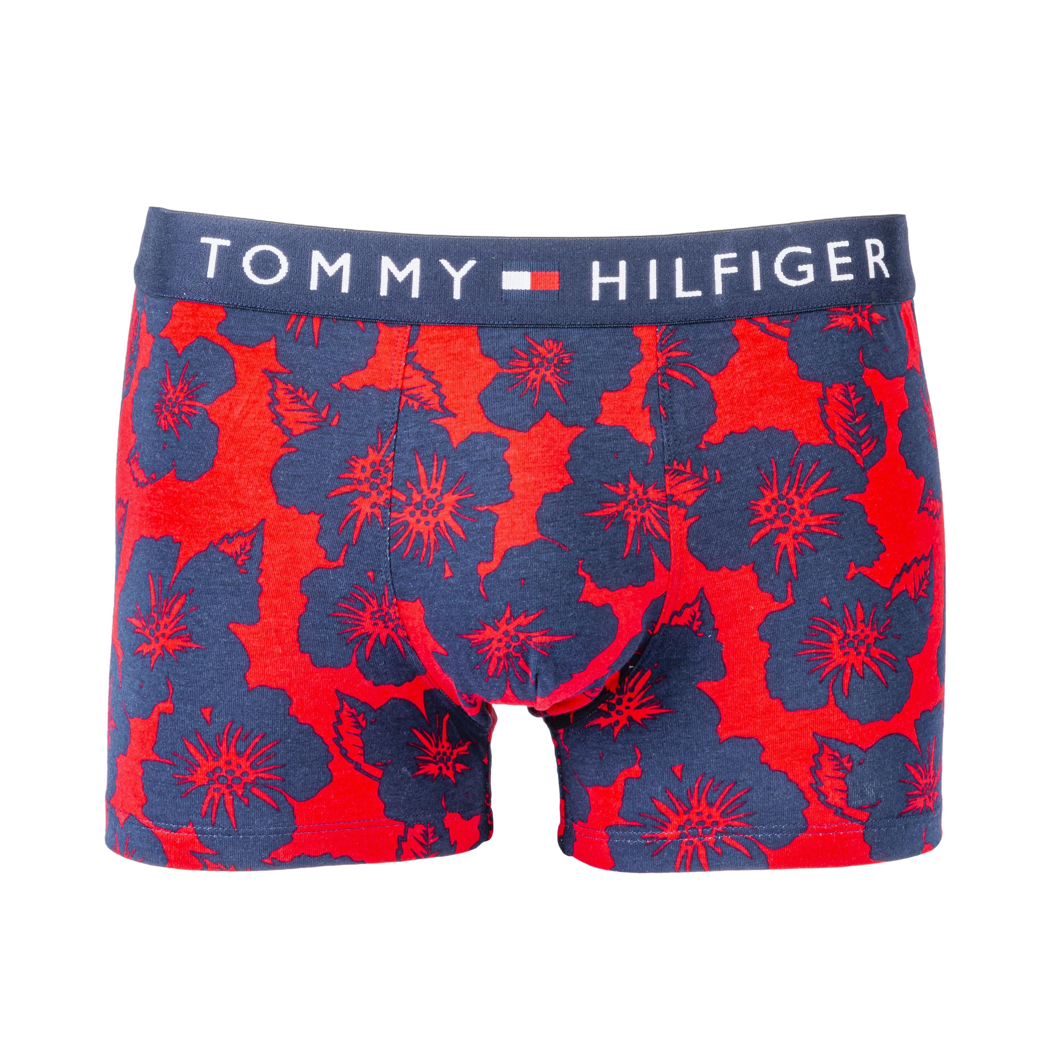 Boxer tommy hilfiger en coton mélangé rouge à feurs et ceinture bleu marine