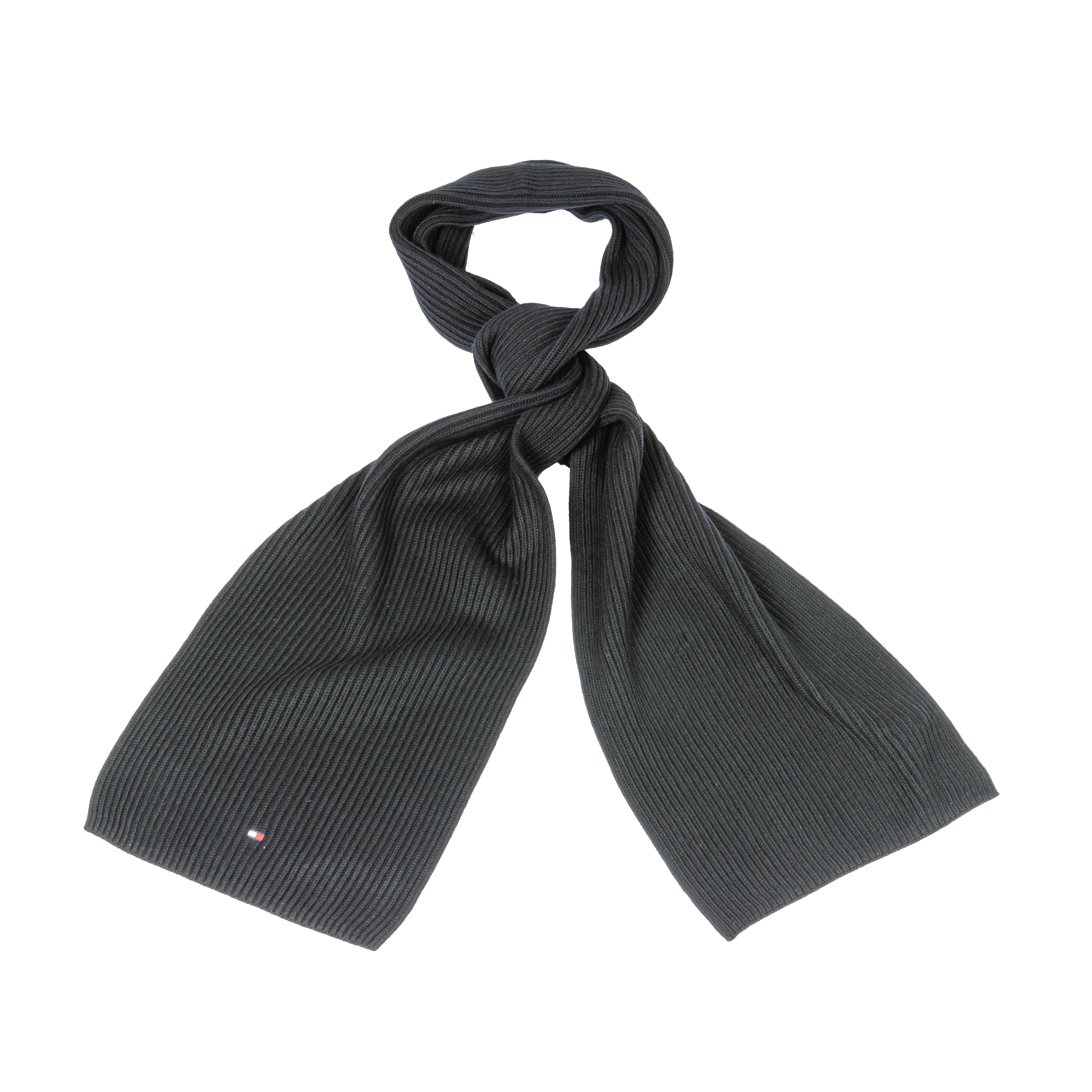 Echarpe tommy hilfiger pima noire en cotton et cachemire
