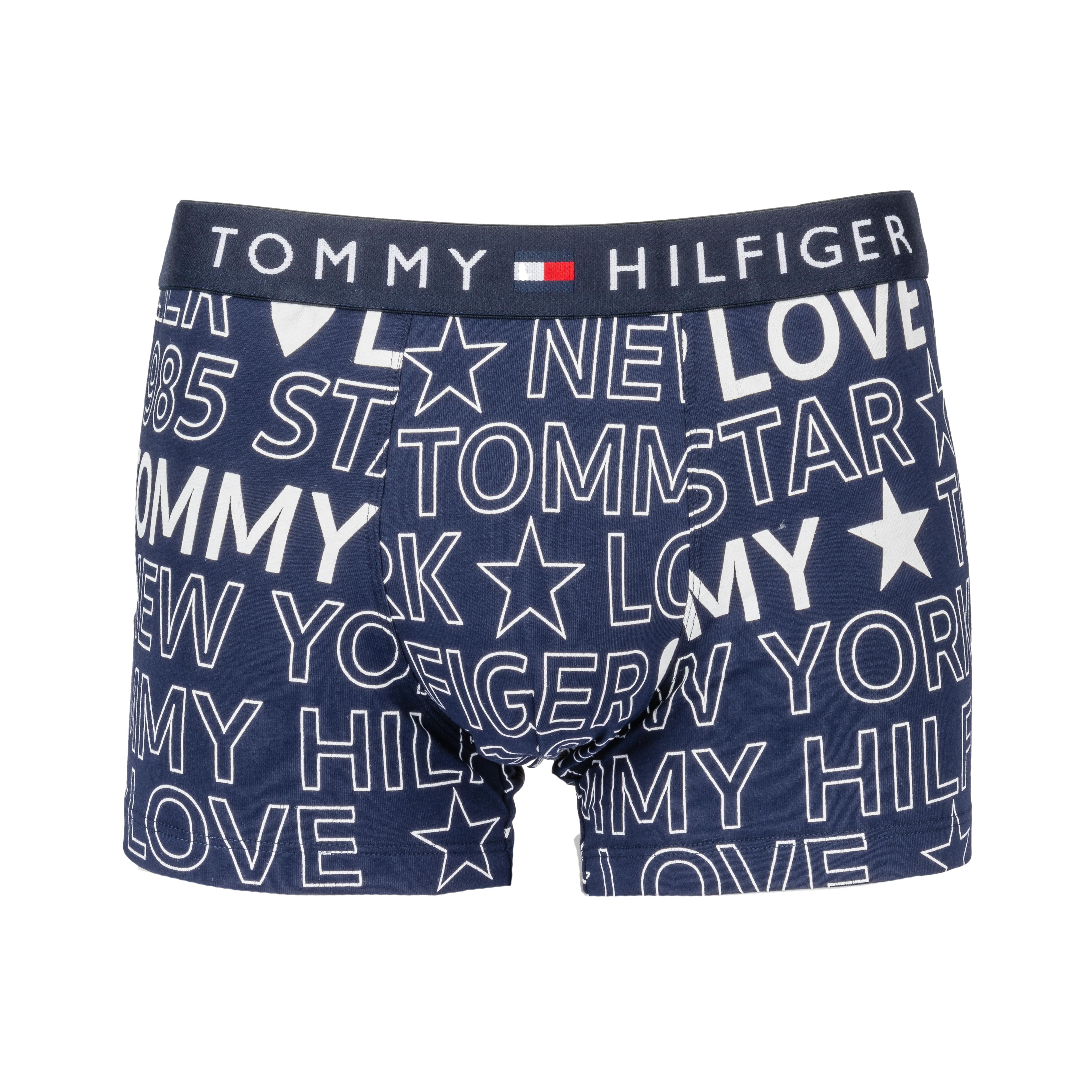 Boxer tommy hilfiger en coton mélangé bleu marine logotypé en blanc