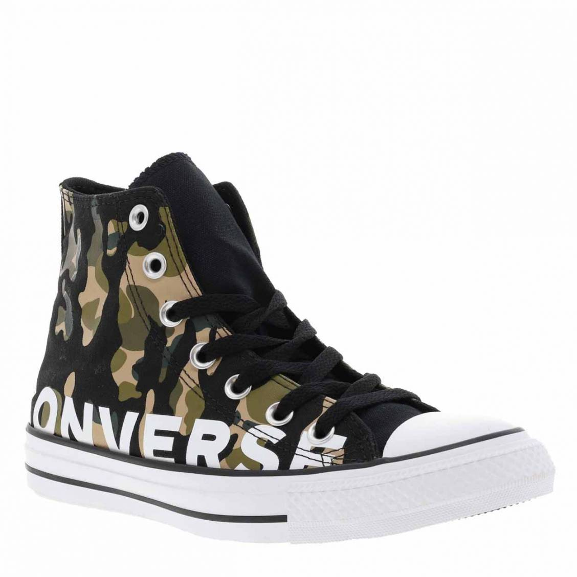 Baskets hautes Converse Chuck Tailor en toile camouflage vert kaki et noir | Rue Des Hommes