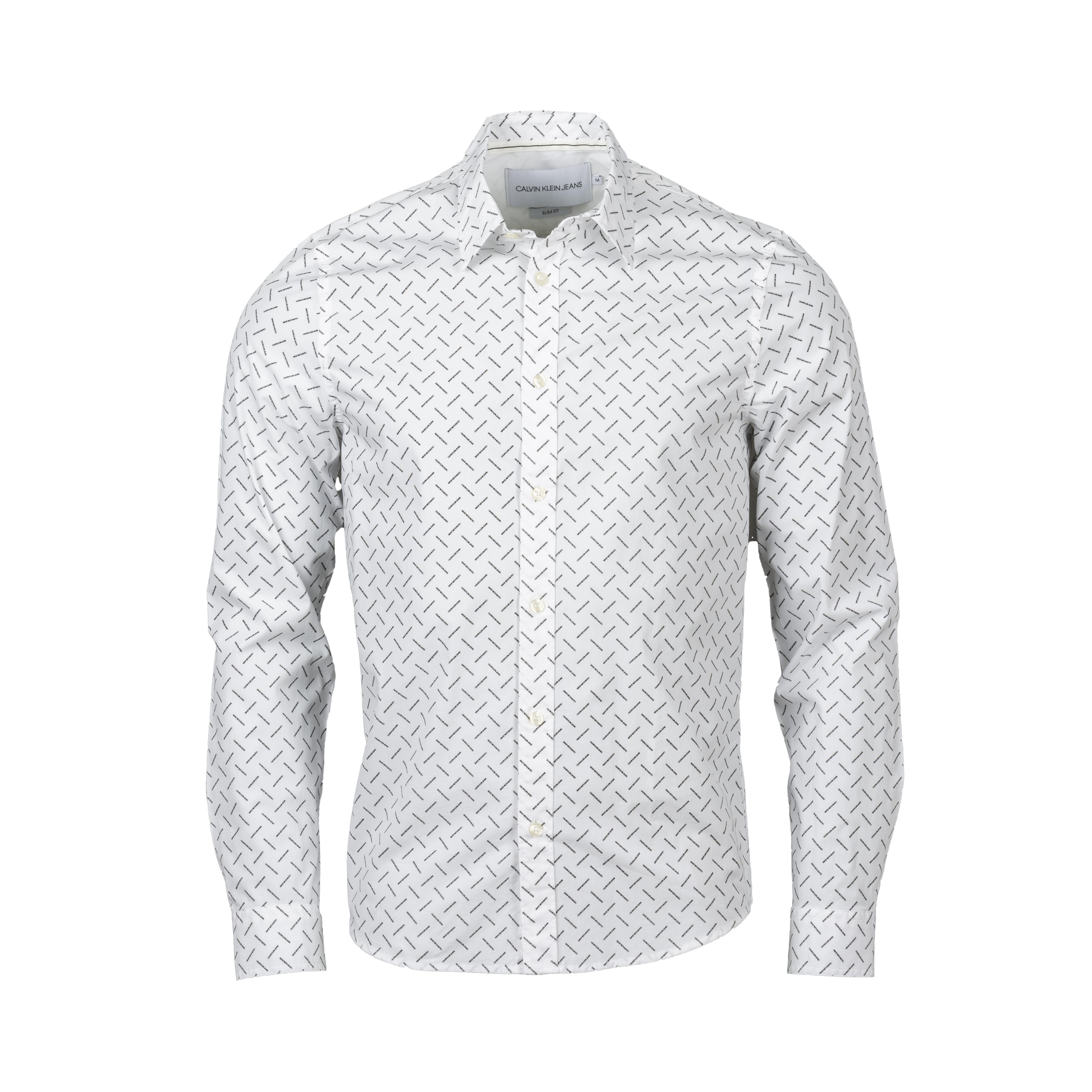 Chemise ajustée calvin klein logo en coton stretch blanc logotypé noir