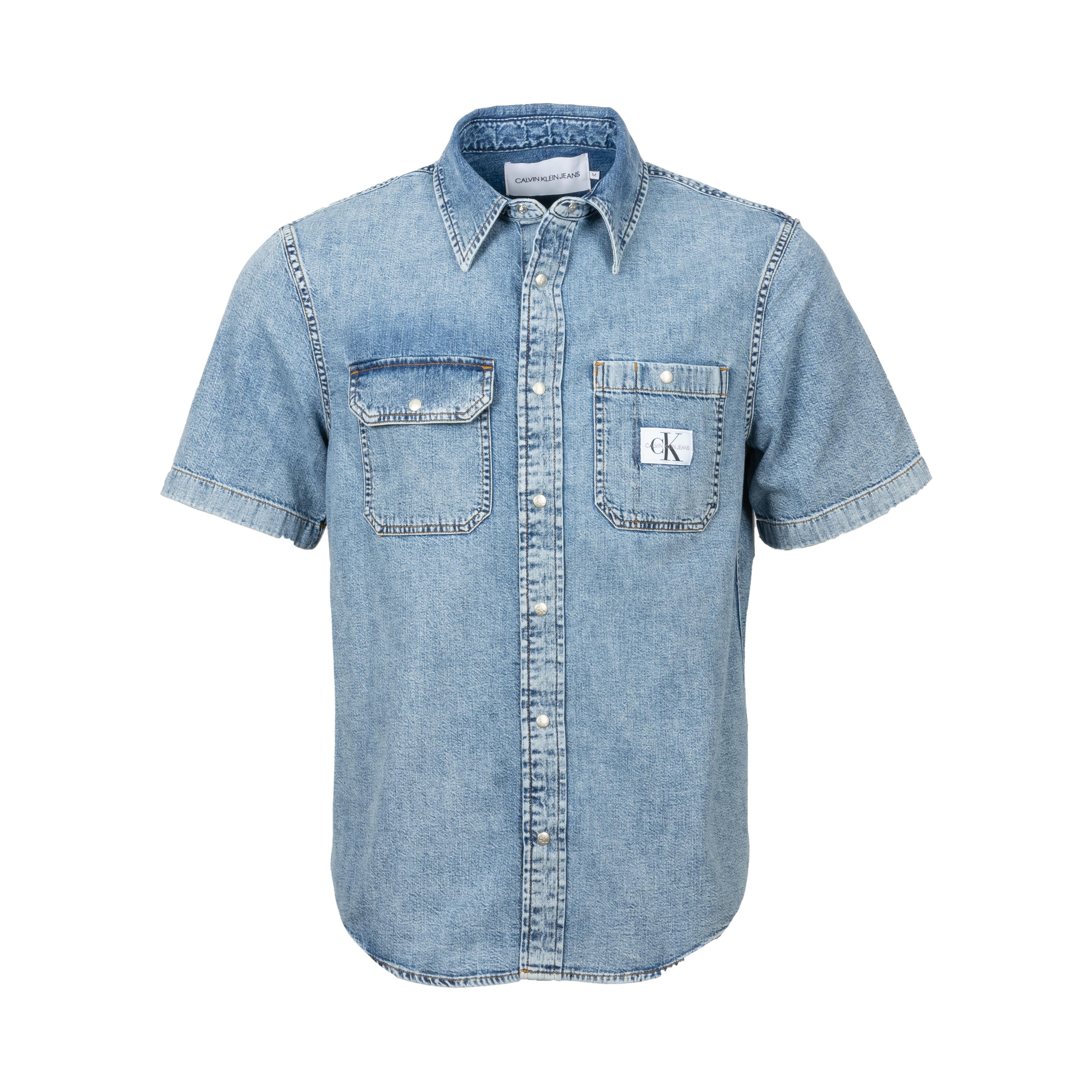 Chemise en jean manche courtes calvin klein en coton bleu denim