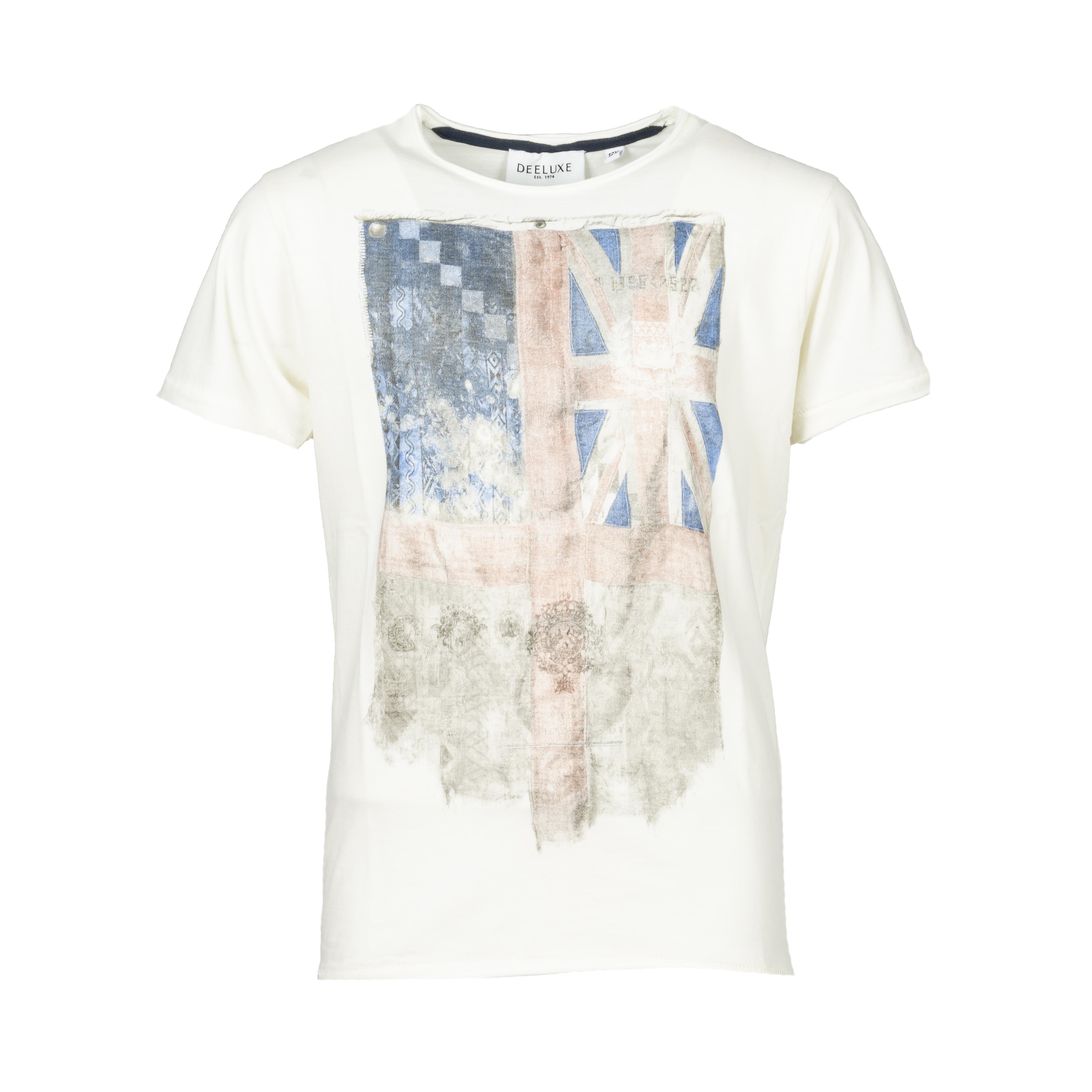 Tee-shirt col rond  flagy en coton blanc floqué