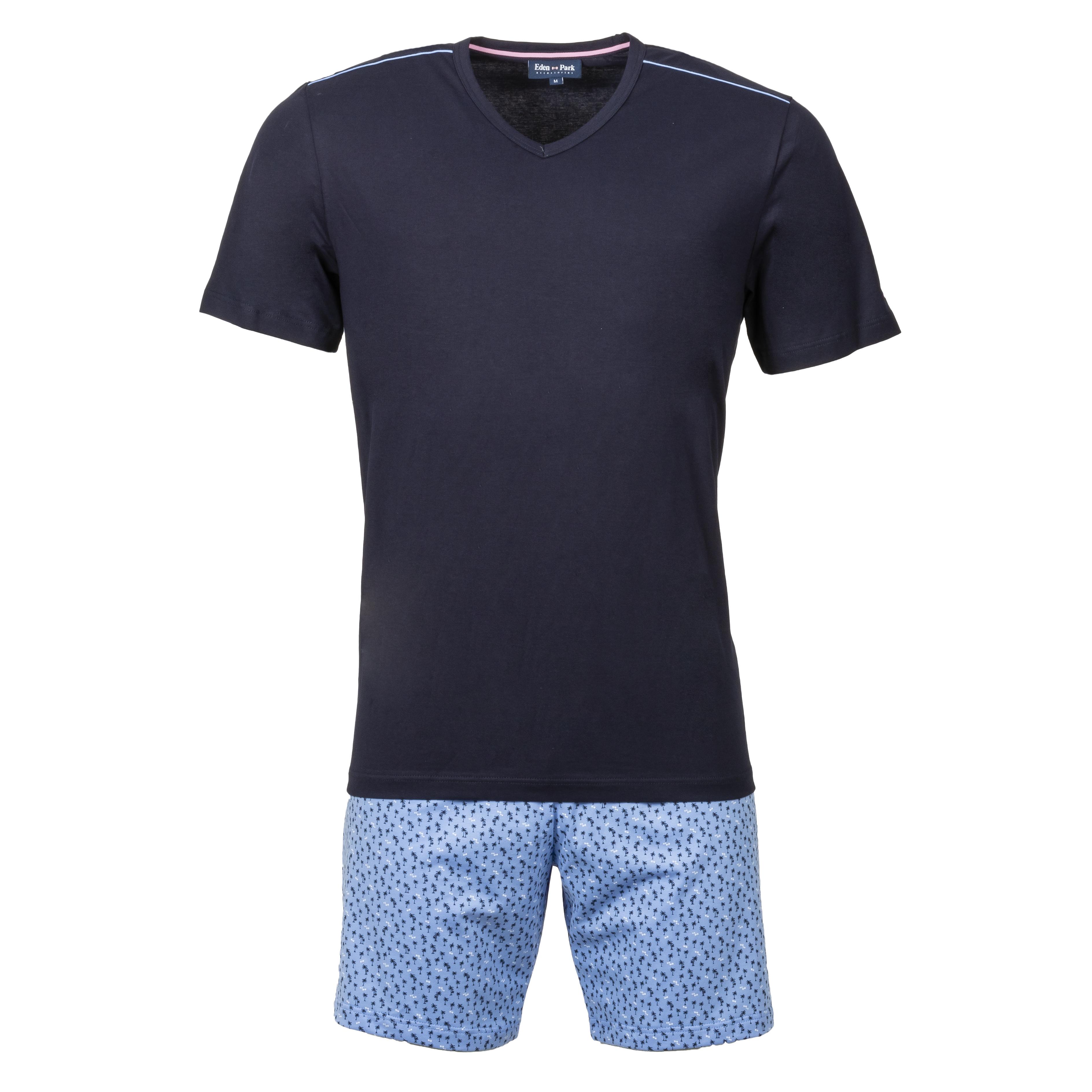 Pyjama court eden park en coton : tee-shirt col v bleu marine et short bleu ciel à motifs bleu marine