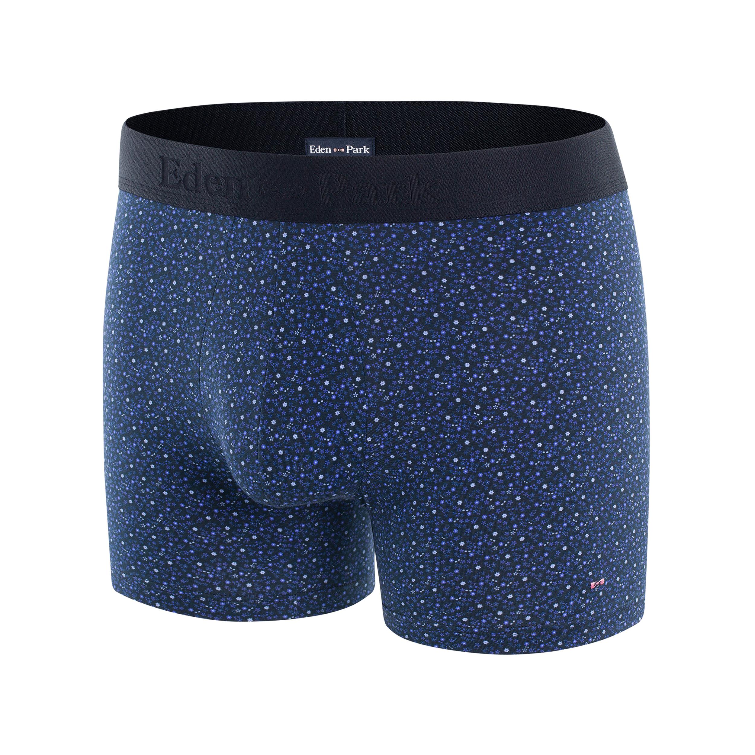 Boxer eden park en coton stretch bleu marine à motifs fleuris