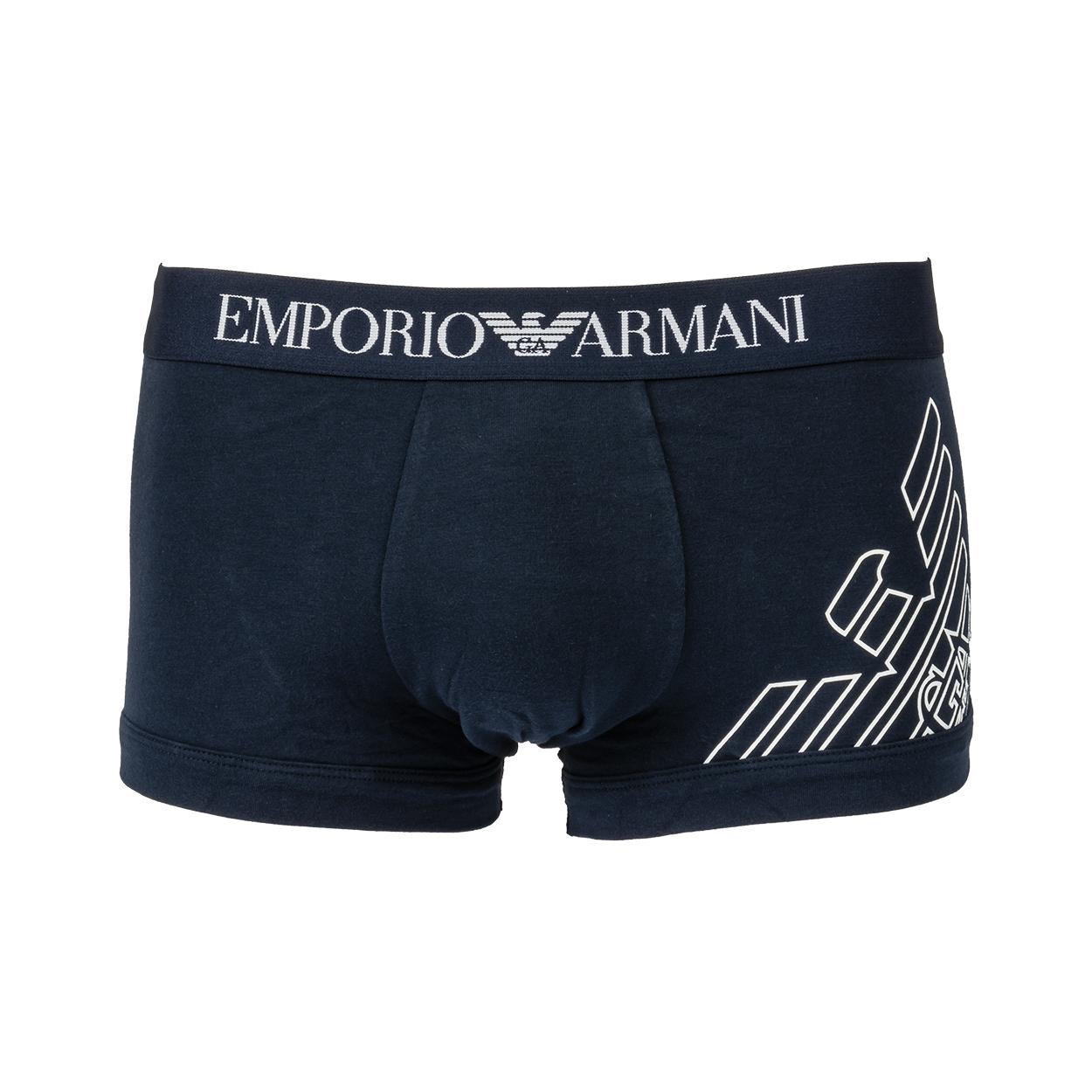 Boxer  en coton stretch bleu marine floqué en blanc