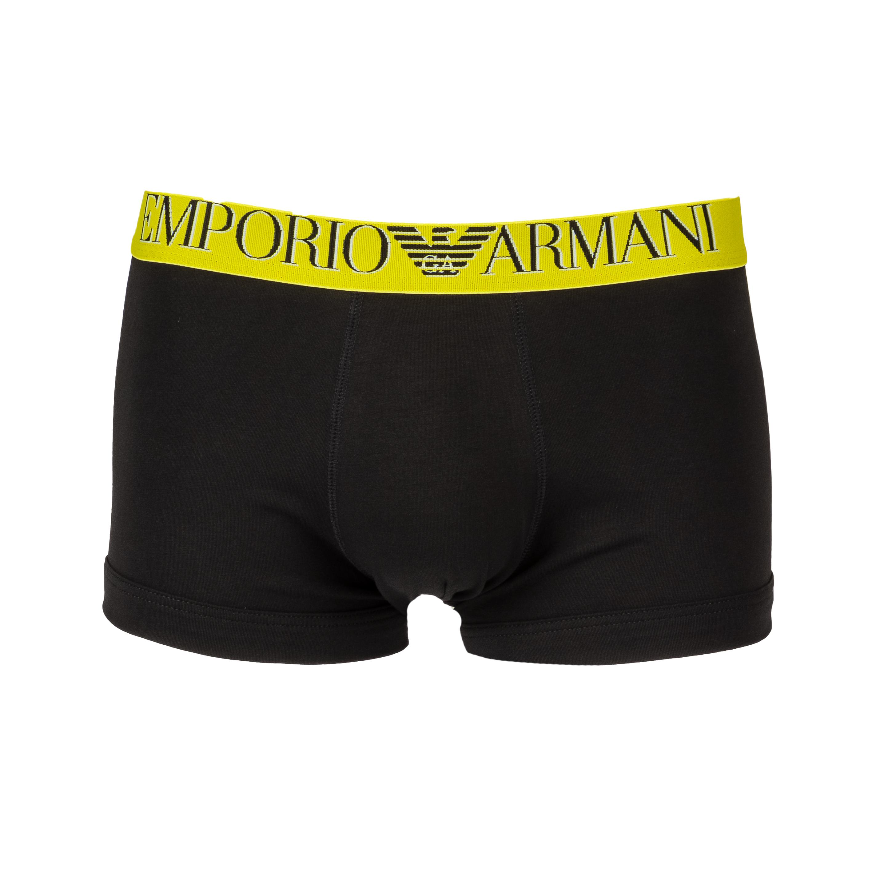 Boxer  en coton stretch noir à ceinture jaune