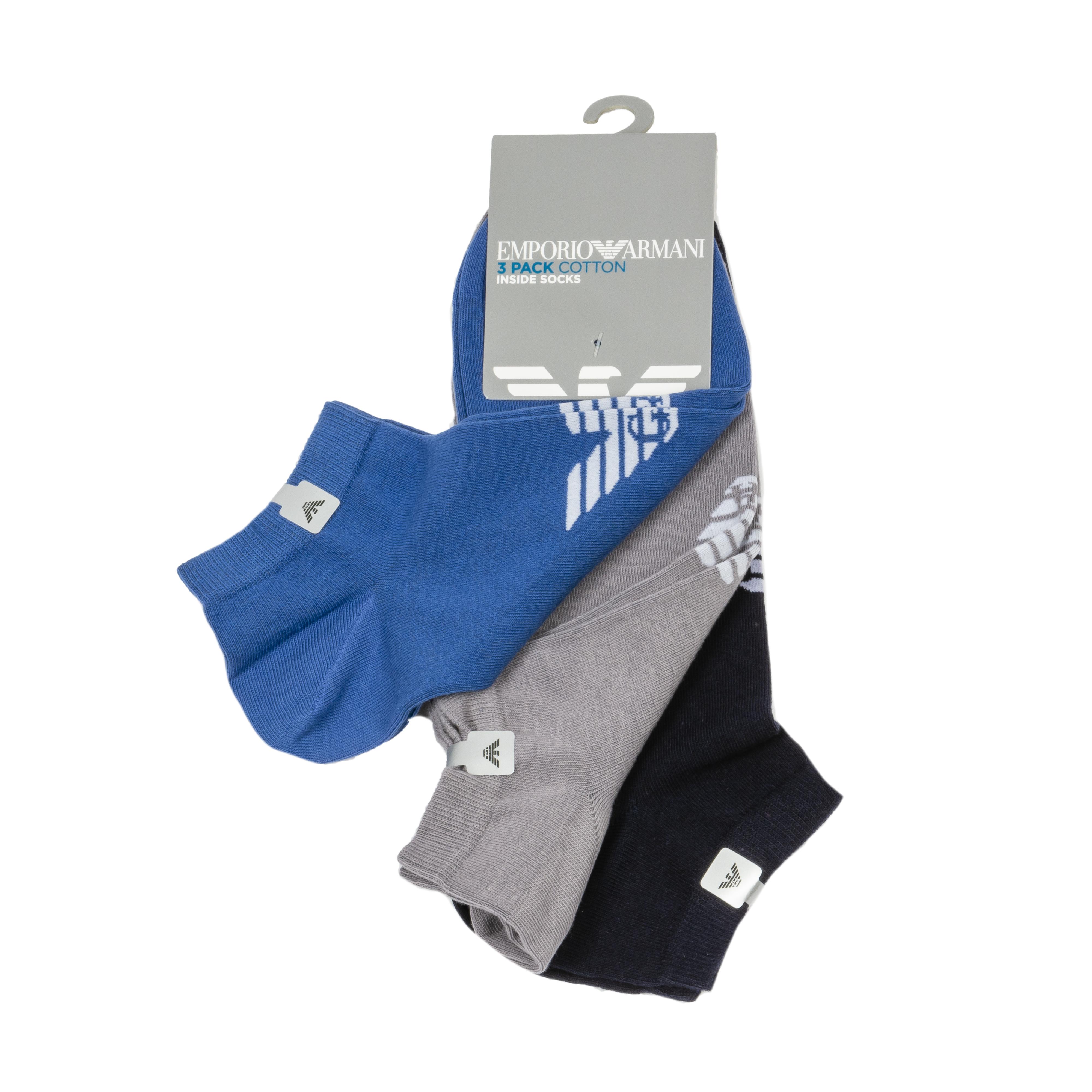 Lot de 3 paires de chaussettes basses  en coton mélangé grises, bleues et noires