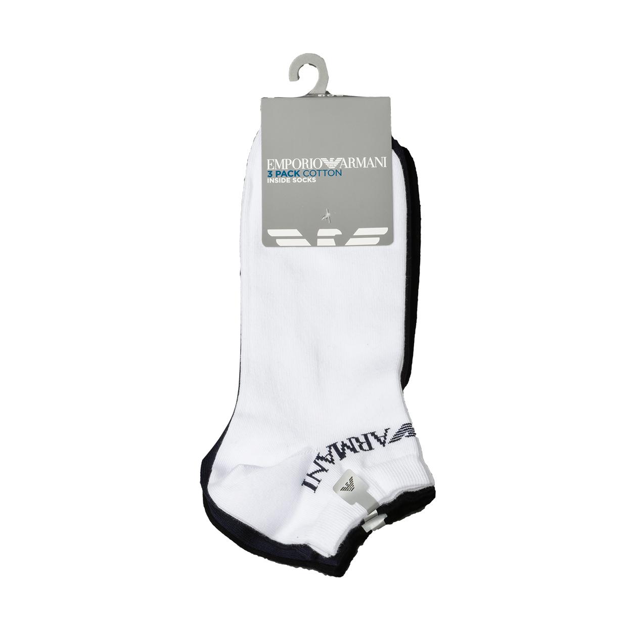 Lot de 3 paires de chaussettes basses  en coton mélangé noir, bleu marine et blanc