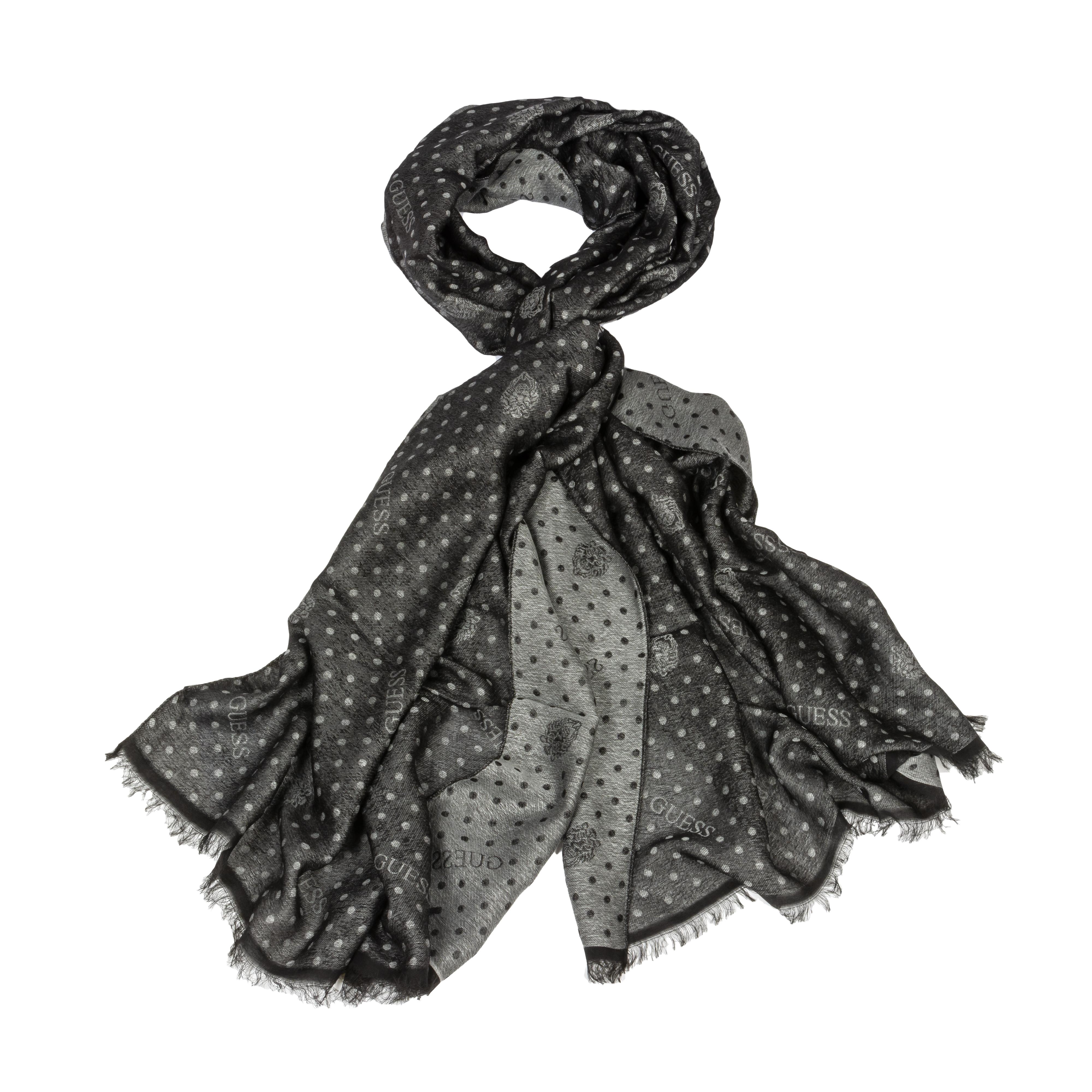 Foulard guess réversible gris ou noir chiné