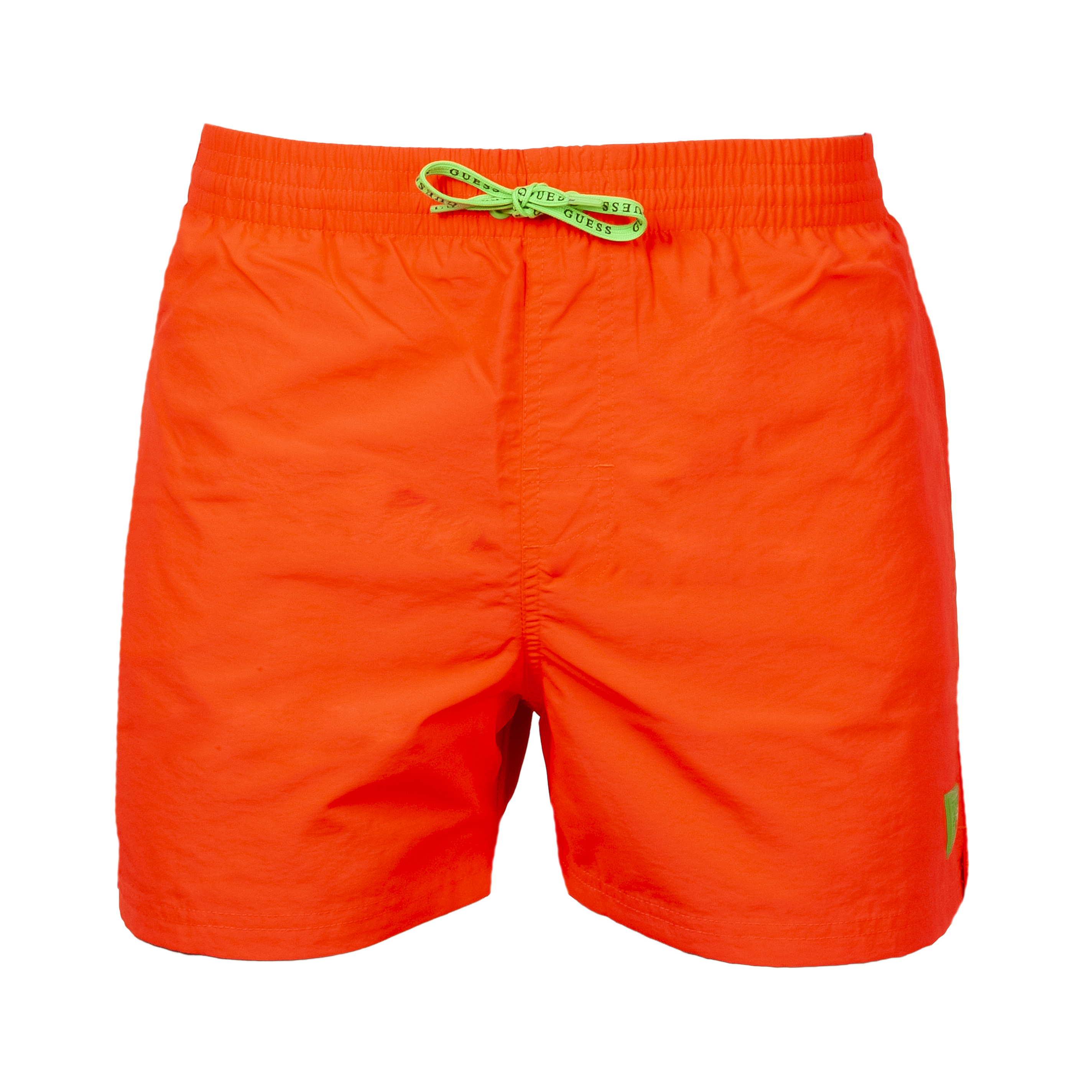 Short de bain guess woven orange fluo à logo vert