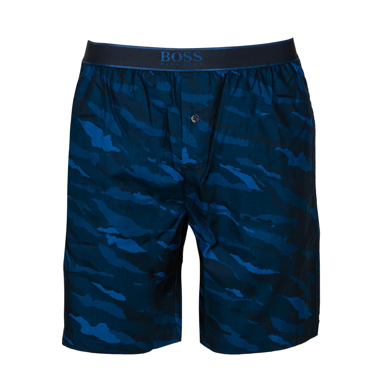 Short de pyjama  urban en coton bleu foncé à camouflage bleu turquoise