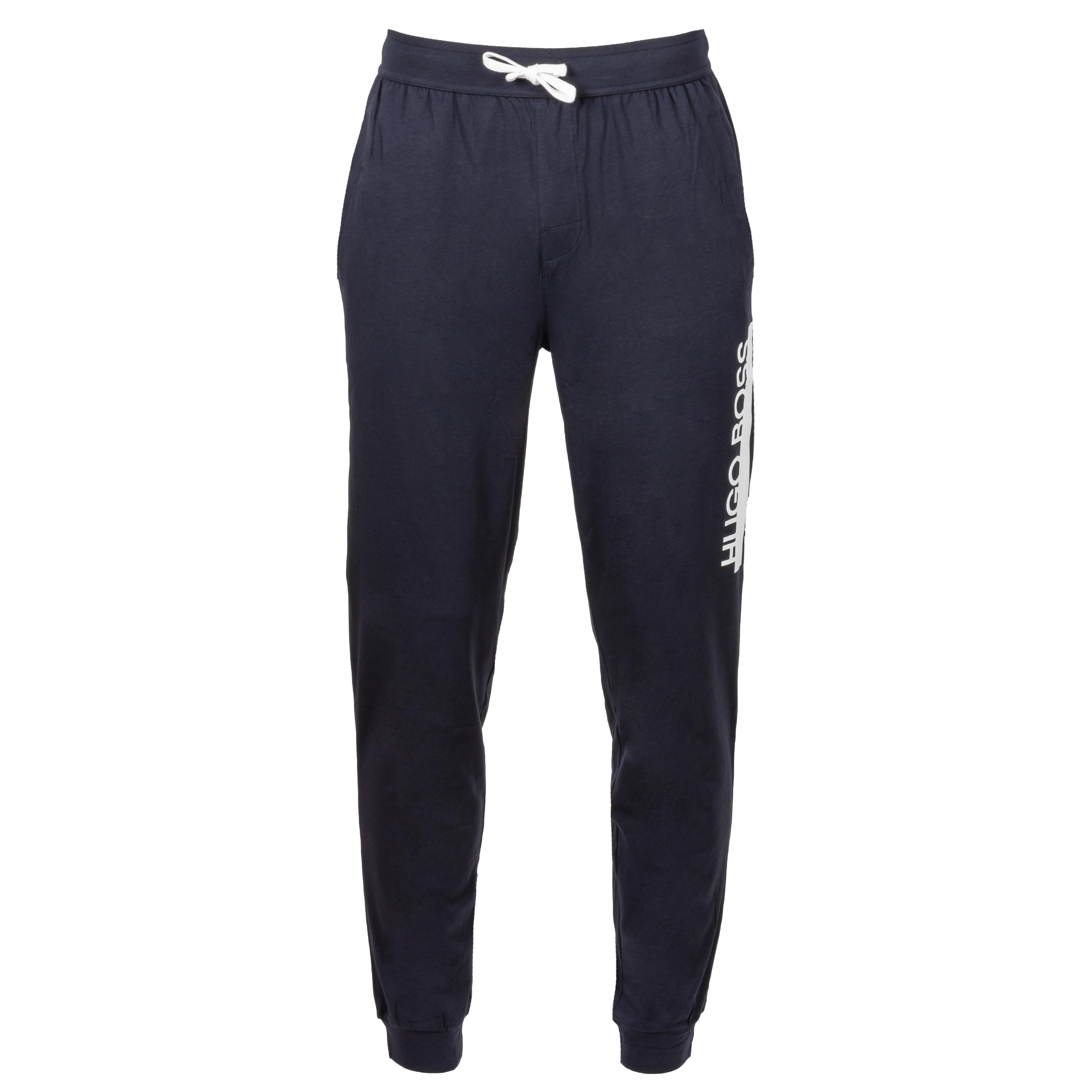Pantalon d\'intérieur  en coton stretch bleu nuit à logo blanc