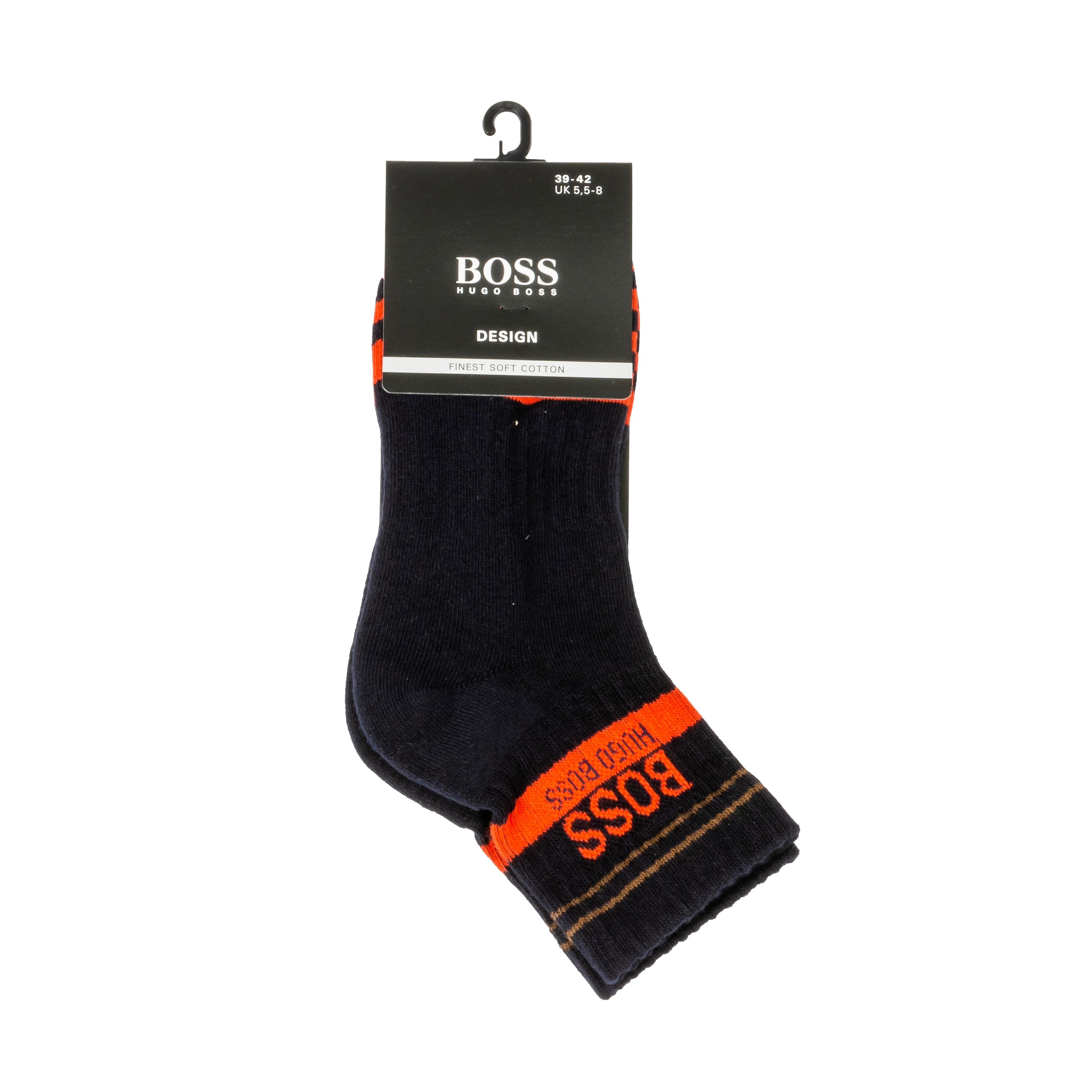 Chaussettes mi-hautes  en coton mélangé noir à rayures oranges