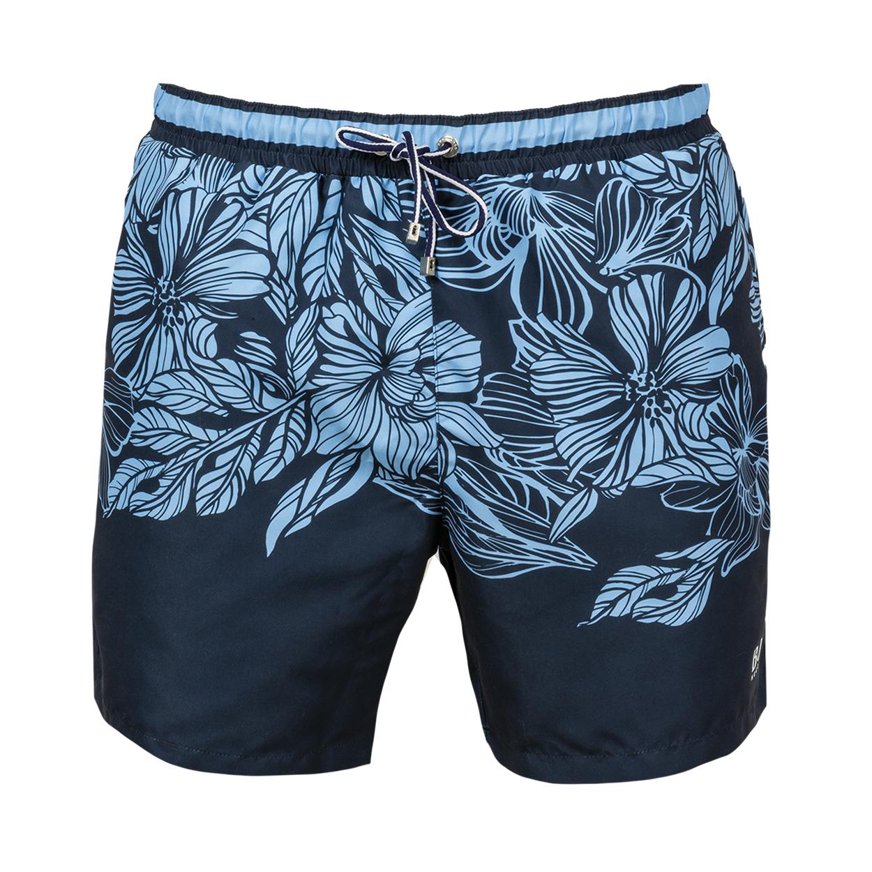 Short de bain  barracuda bleu foncé à motifs fleurs et feuilles bleu ciel