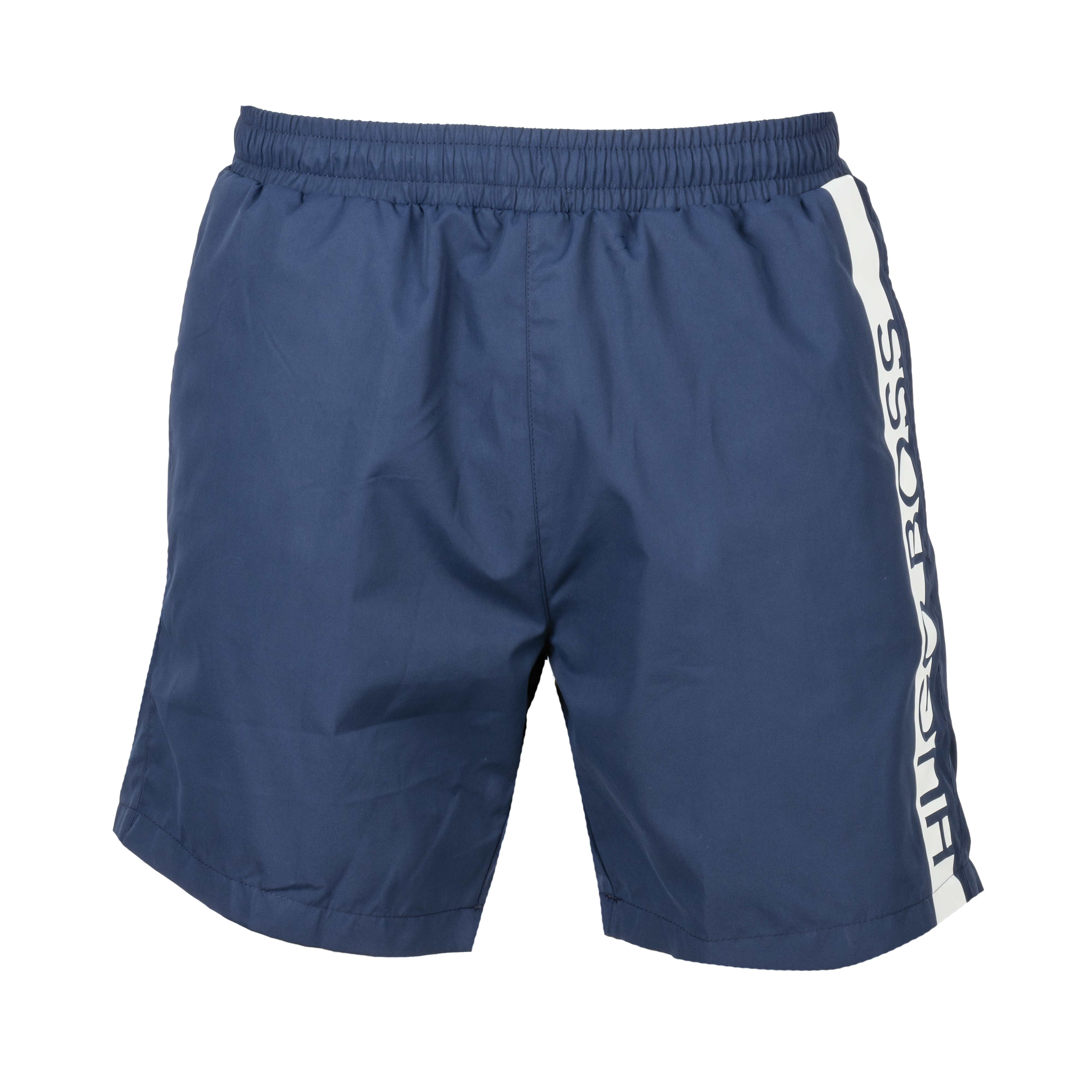 Short de bain  bleu marine à bande blanche logotypée