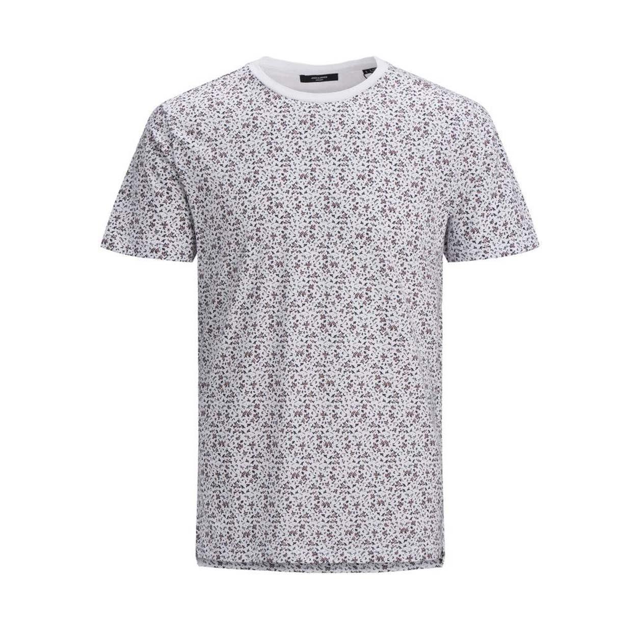Tee-shirt col rond jack & jones james en coton blanc à motifs fleuris