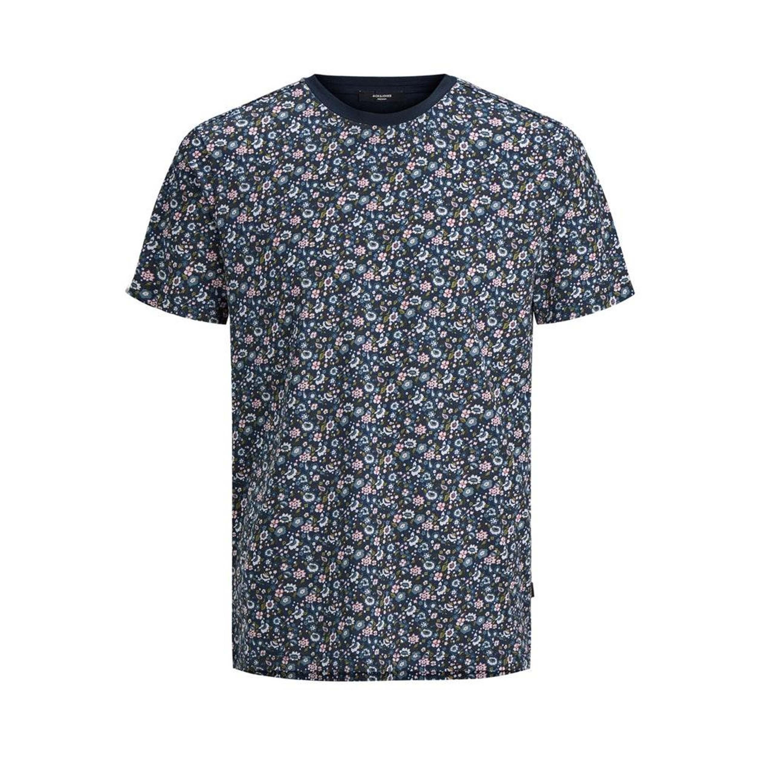 Tee-shirt col rond jack & jones james en coton bleu nuit à motifs fleuris