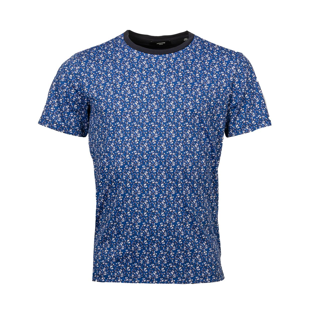 Tee-shirt col rond  en coton bleu nuit à imprimés fleurs grises, blanches et bleues