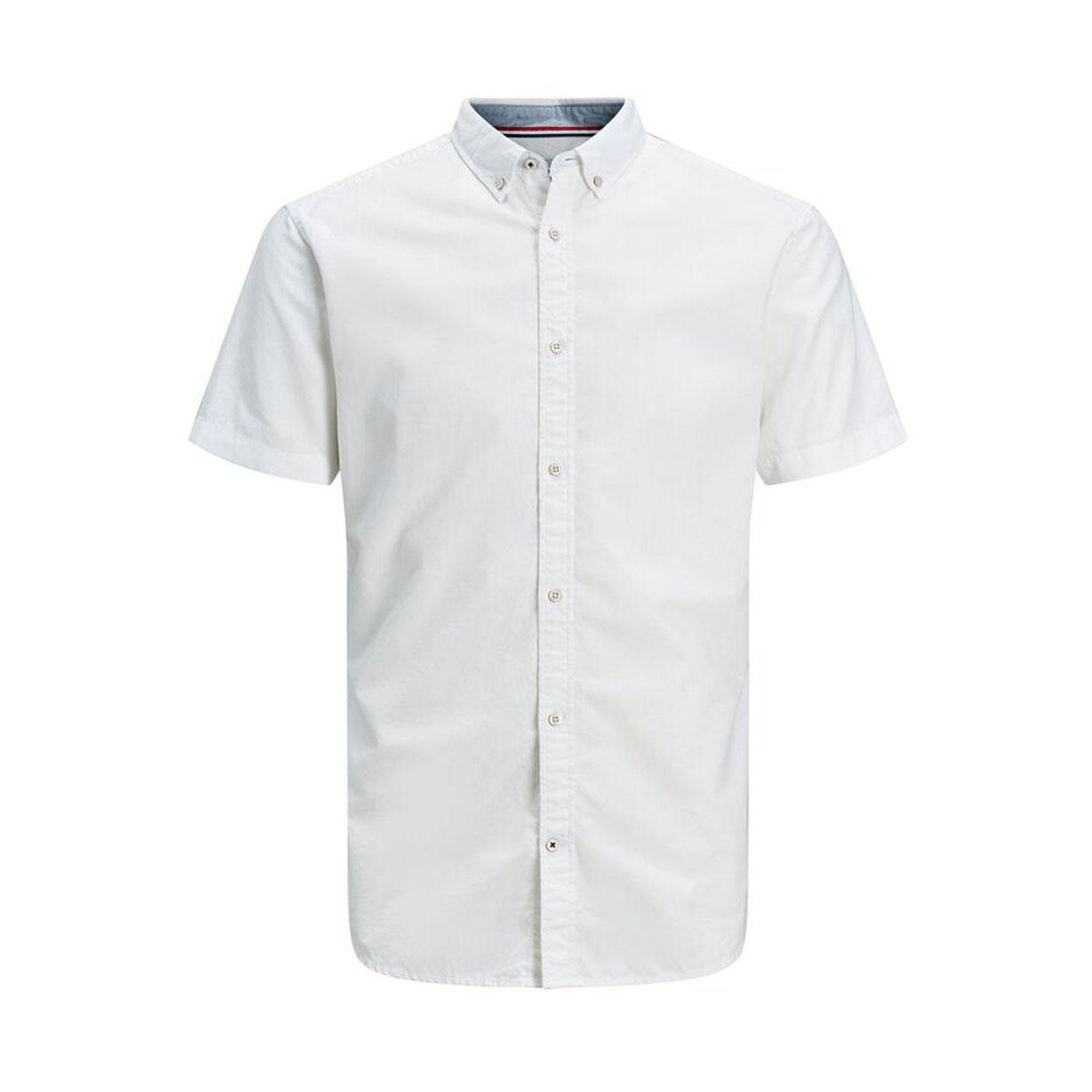 Chemise ajustée  summer en coton et lin blanc