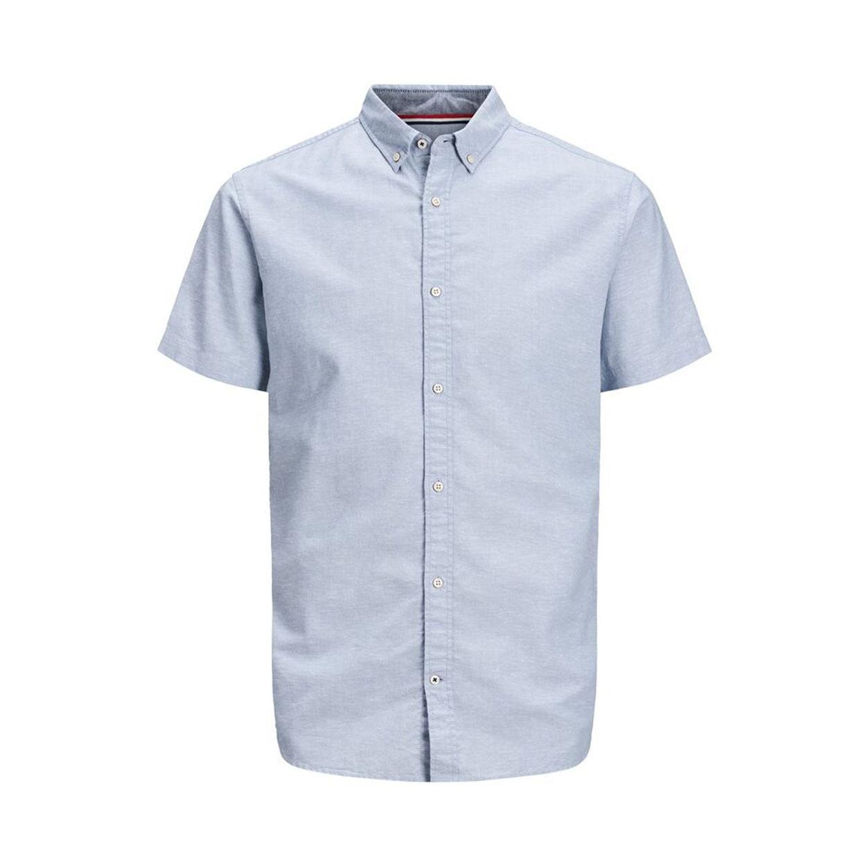 Chemise ajustée  summer en coton et lin bleu ciel
