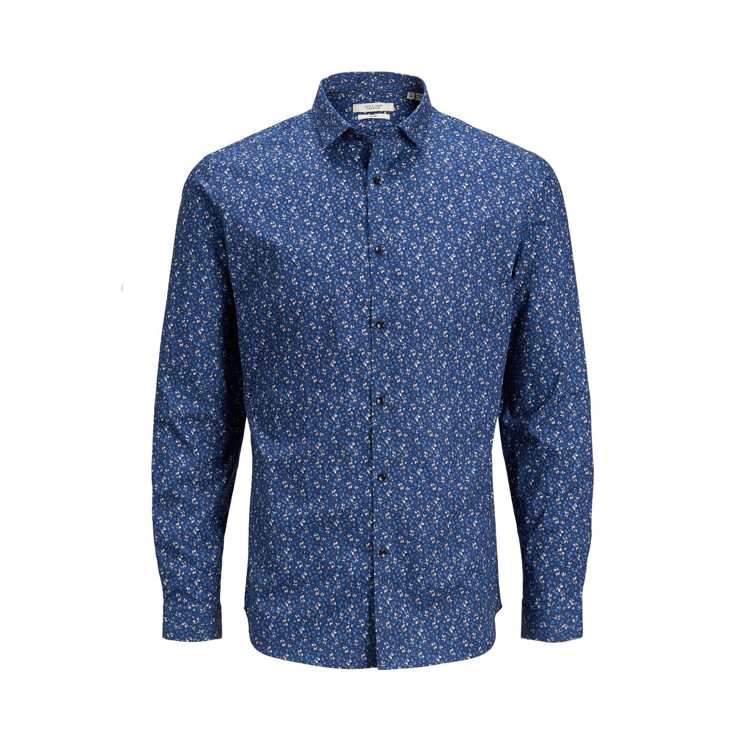 Chemise cintrée jack&jones en coton bleu marine à motifs fleuris