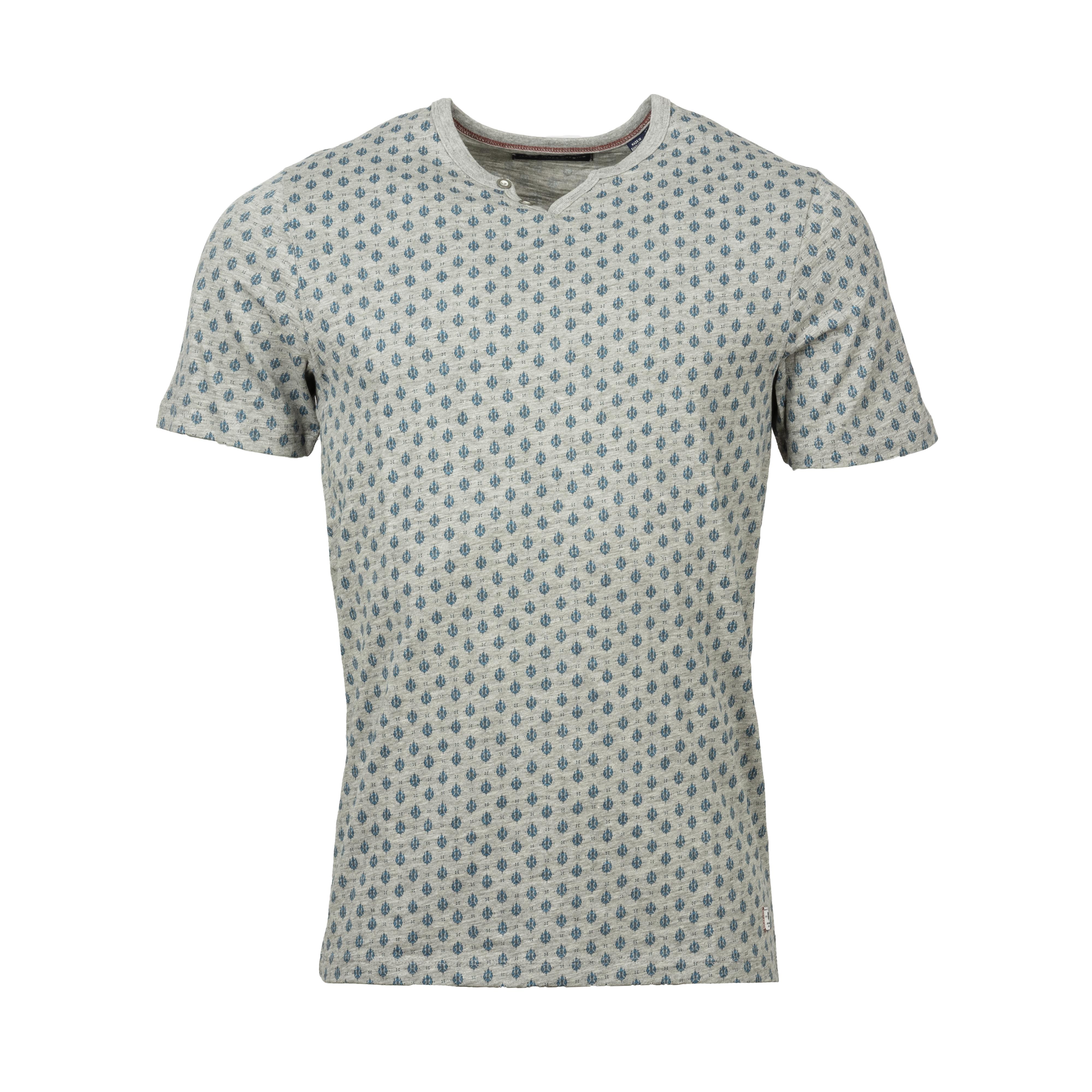 Tee-shirt col tunisien jack & jones en coton mélangé gris à motifs bleus