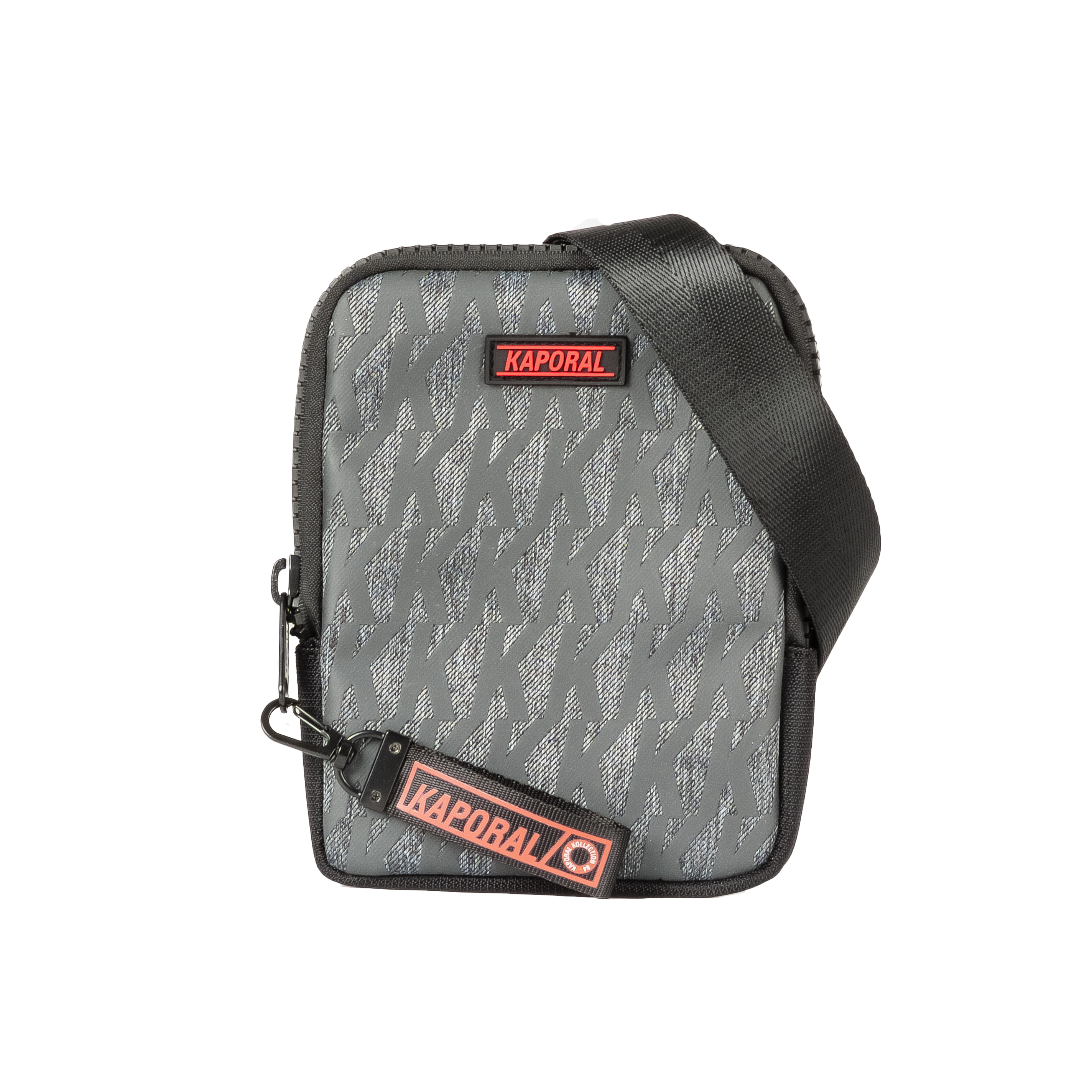 Sacoche plate  ladare gris anthracite logotypée noire