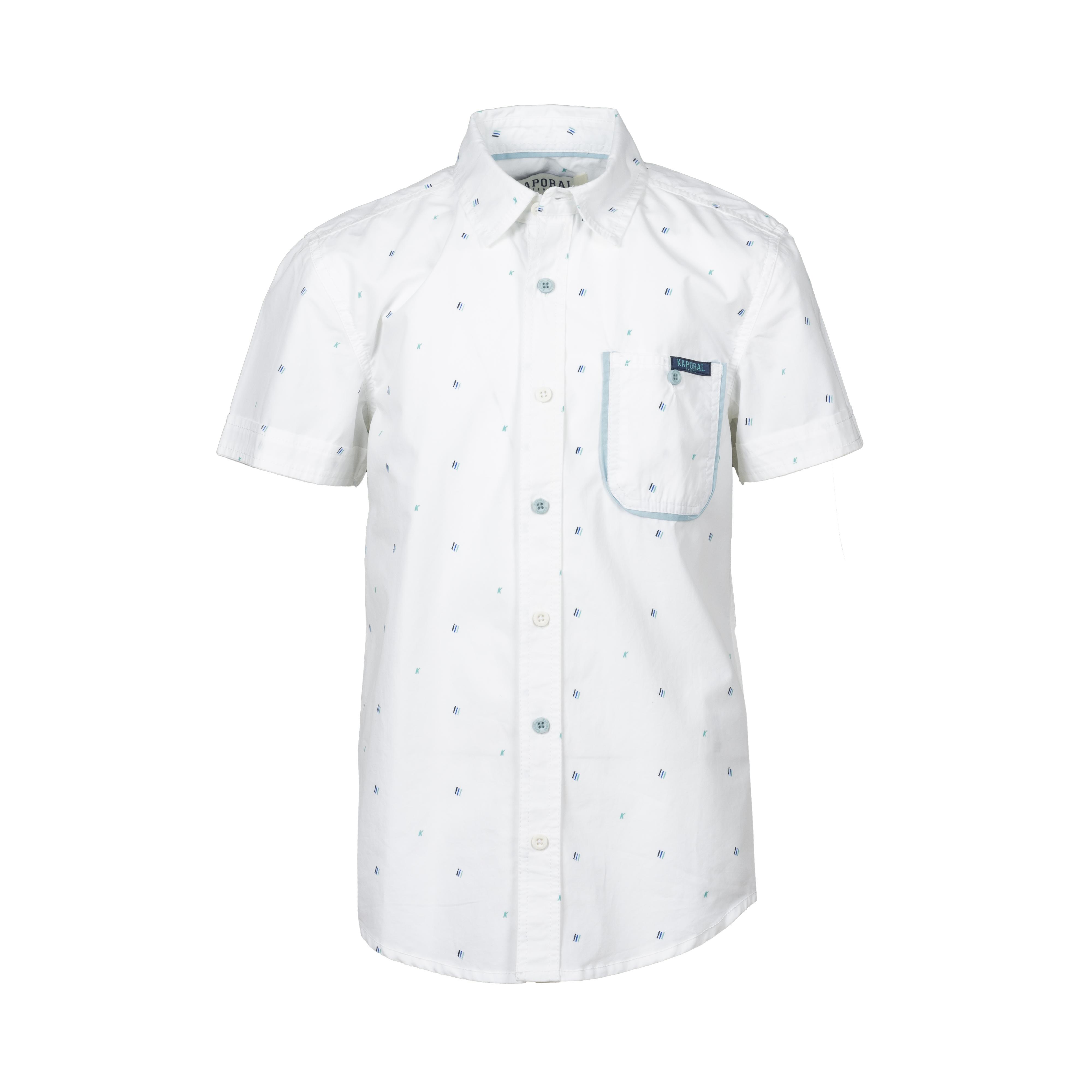 Chemise manches courtes coupe droite kaporal erole en coton blanc à micro motifs bleus, verts et noirs